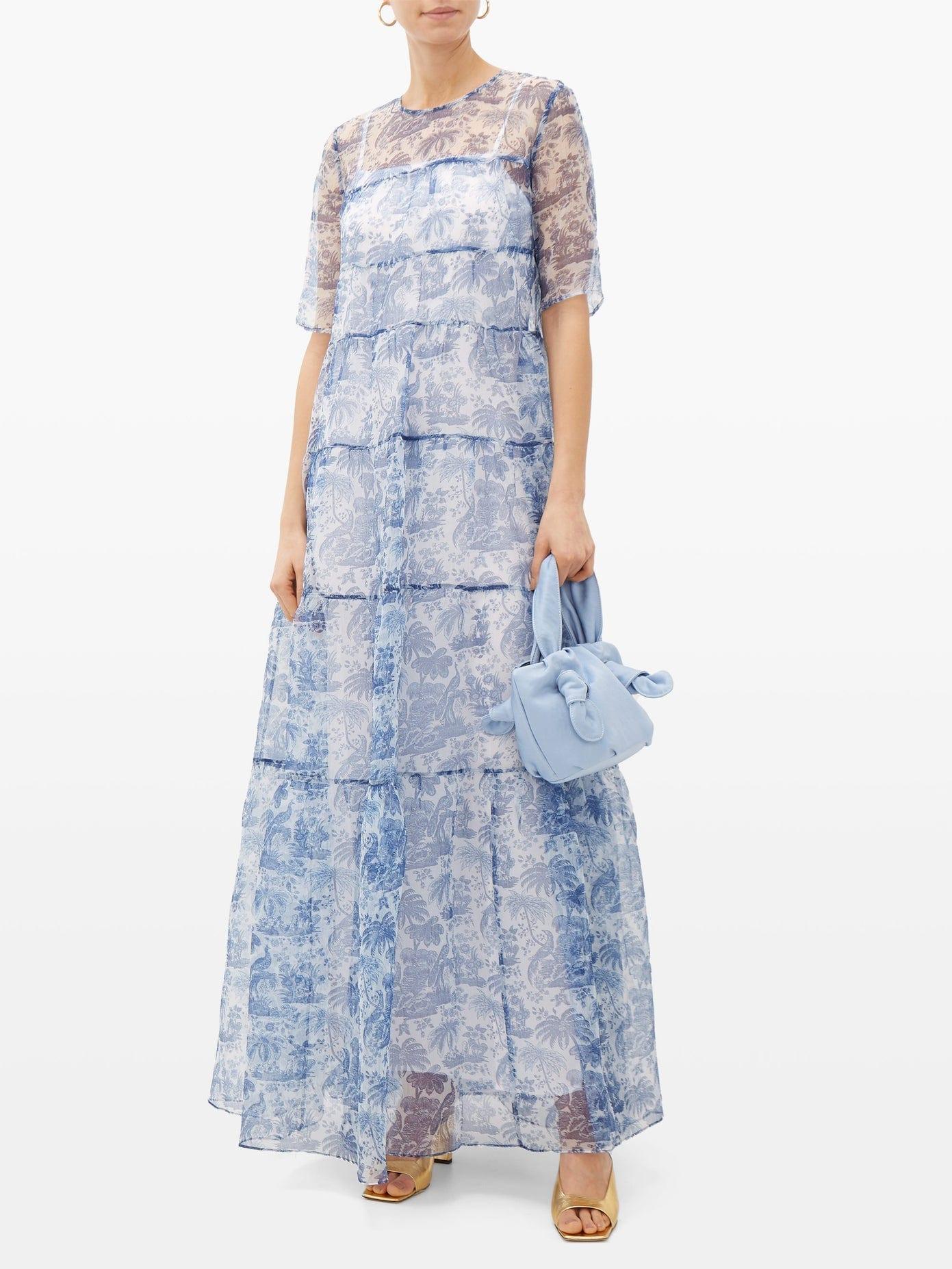 STAUD China Palm-print Gauze Dress