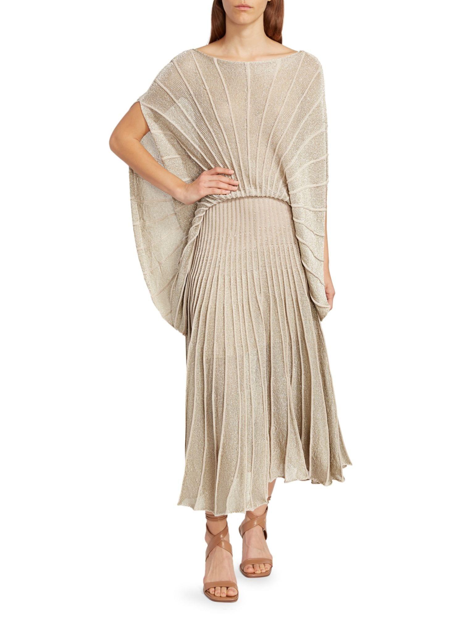 STELLA MCCARTNEY Shine Stripes Lurex Cape Blouson Midi Dress