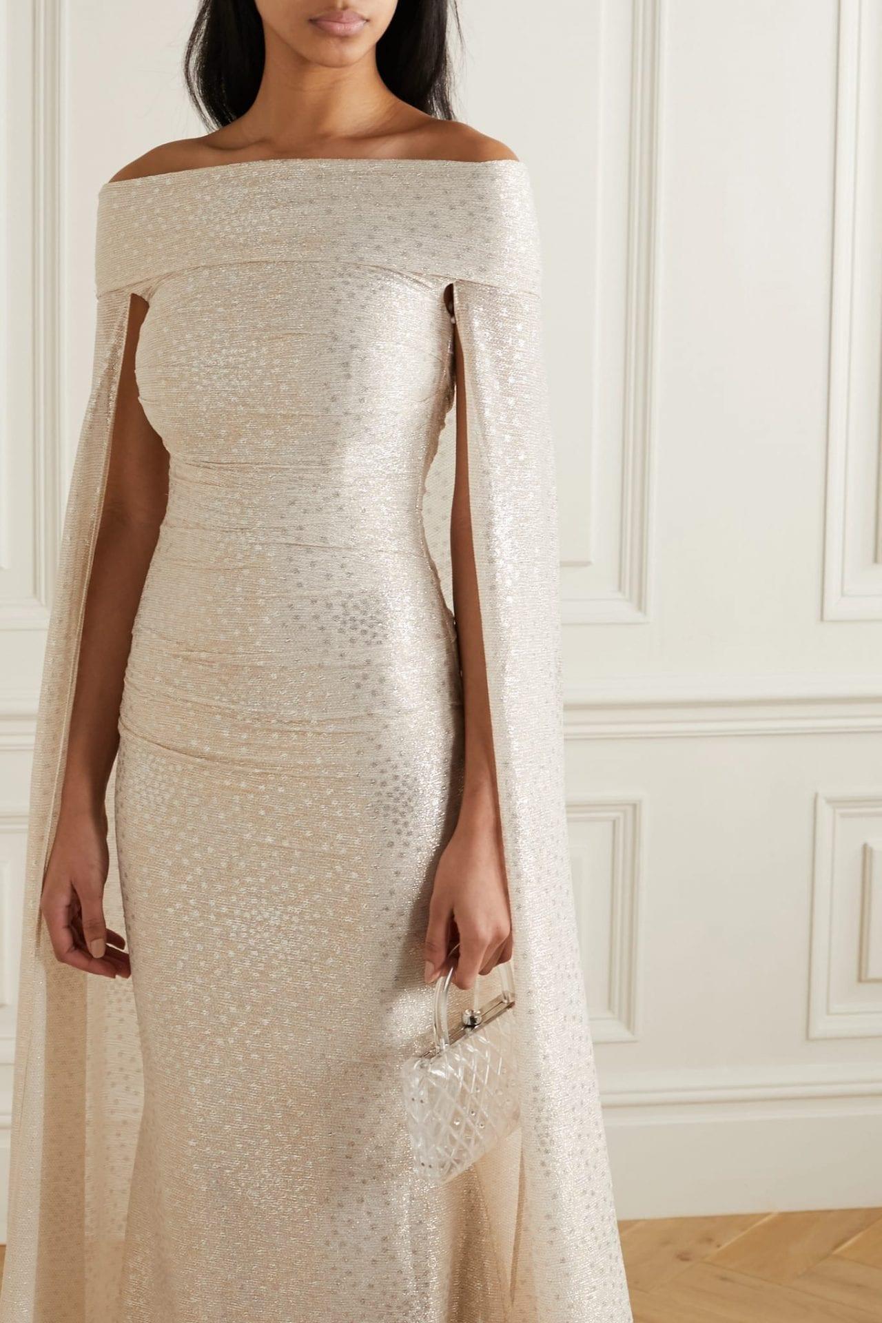 TALBOT RUNHOF Bortolo Cape-effect Ruched Metallic Voile Gown