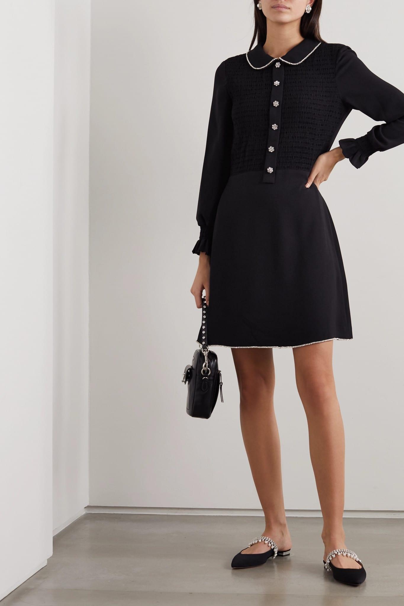THE MARC JACOBS Crystal-embellished Shirred Crepe Mini Dress