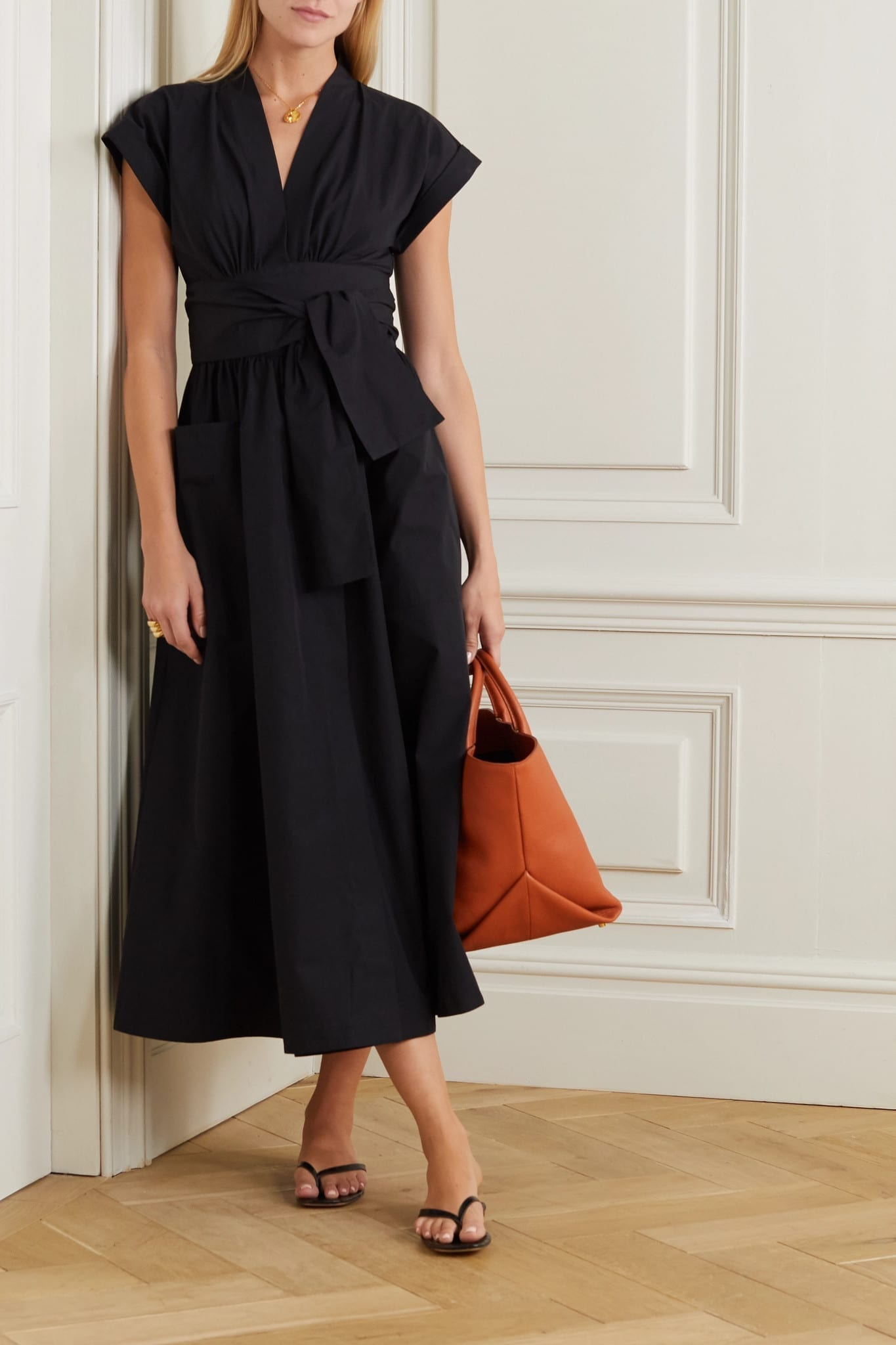 THREE GRACES LONDON Clarissa Cotton-poplin Wrap Midi Dress