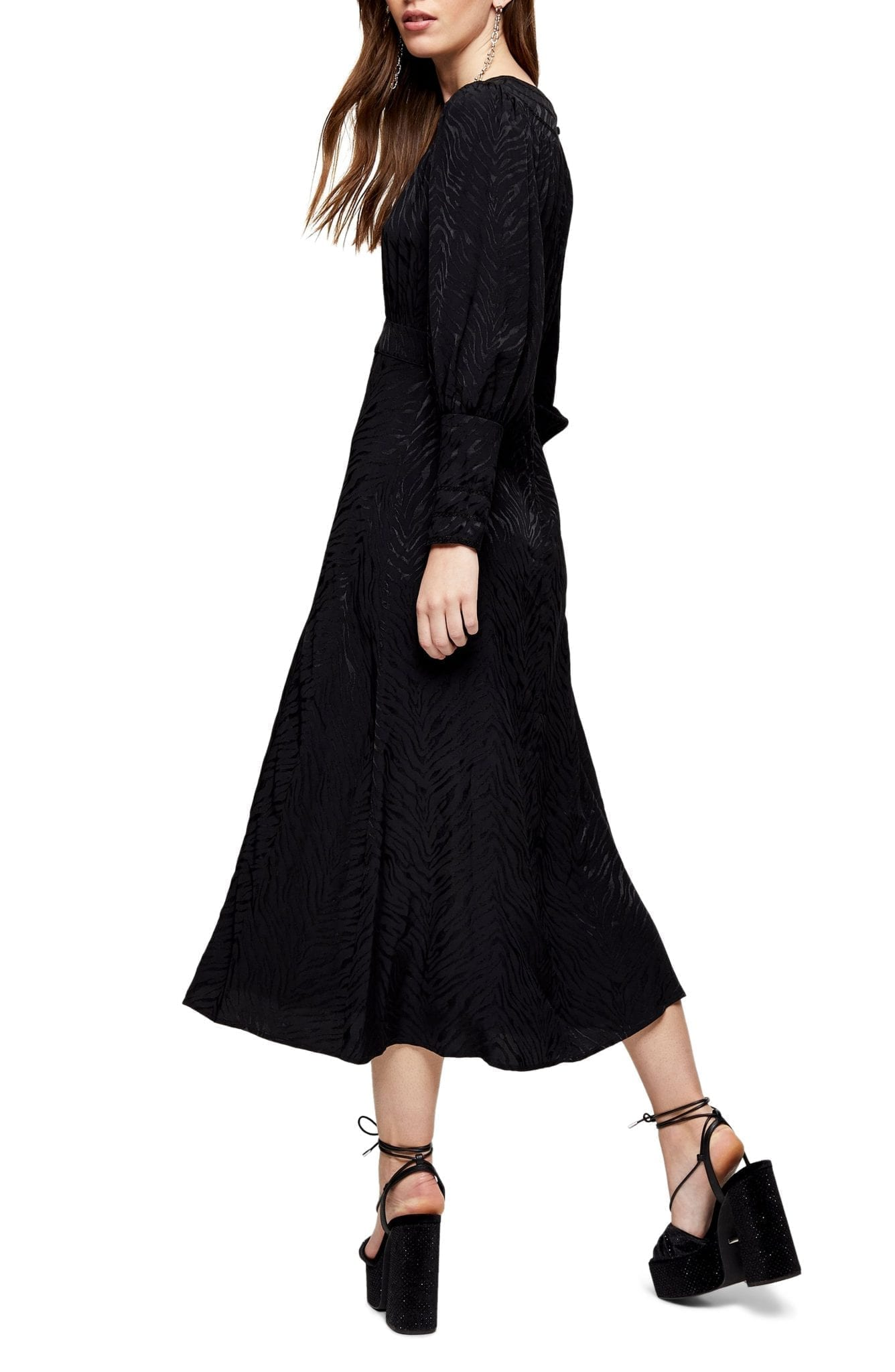 TOPSHOP Fallen Long Sleeve Jacquard Midi Dress