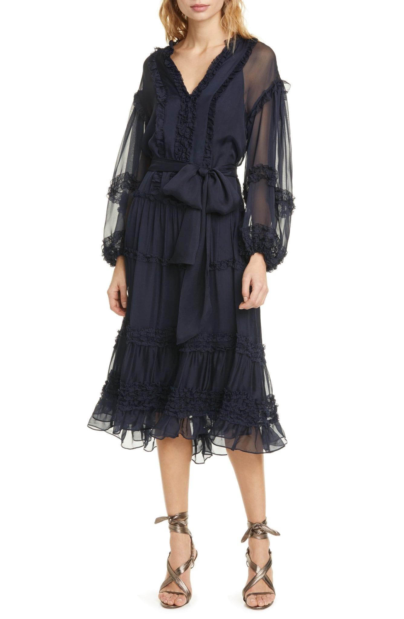 ULLA JOHNSON Althea Ruffle Long Sleeve Silk Habutai Dress