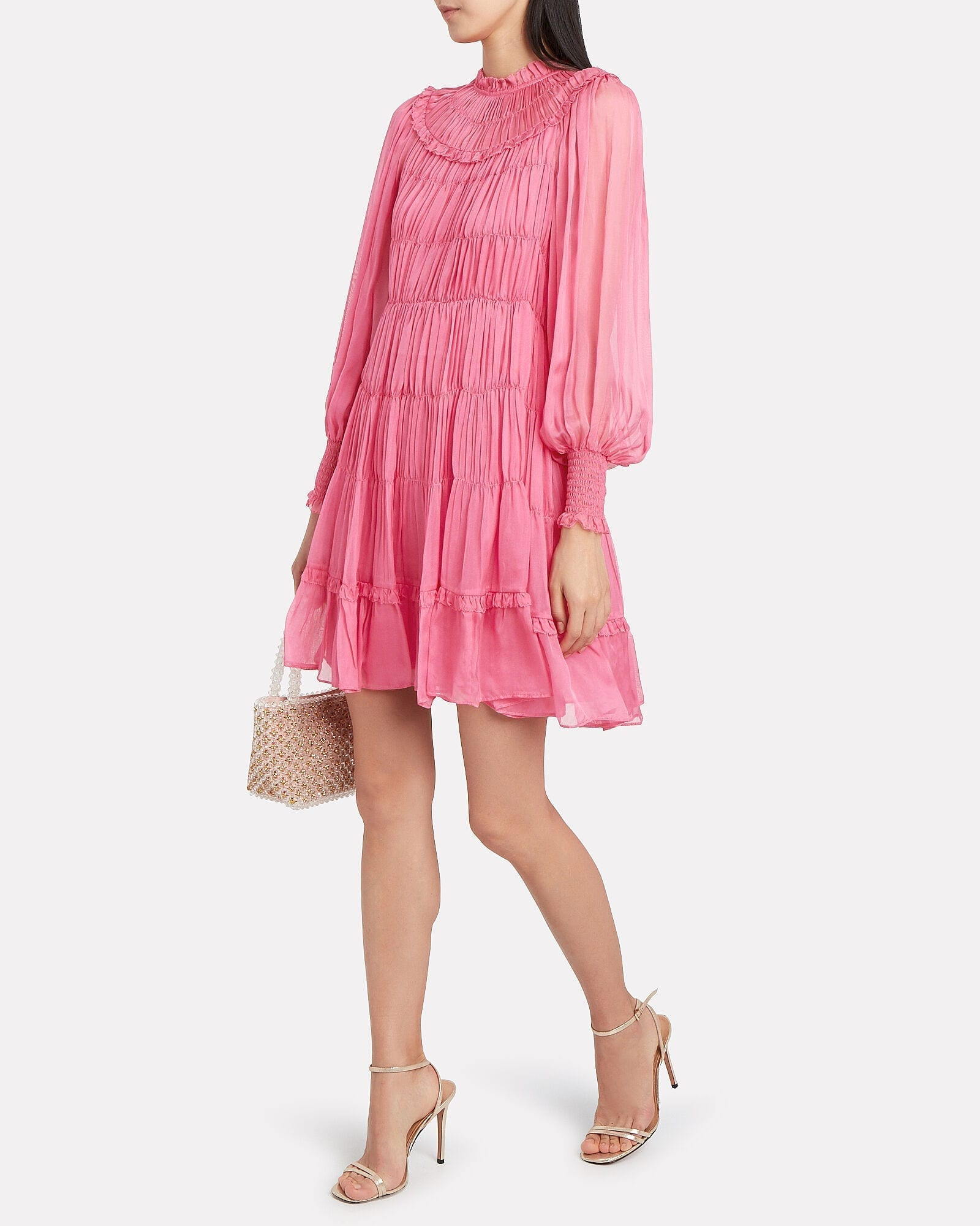 ULLA JOHNSON Emmaline Silk Habotai Pleated Dress