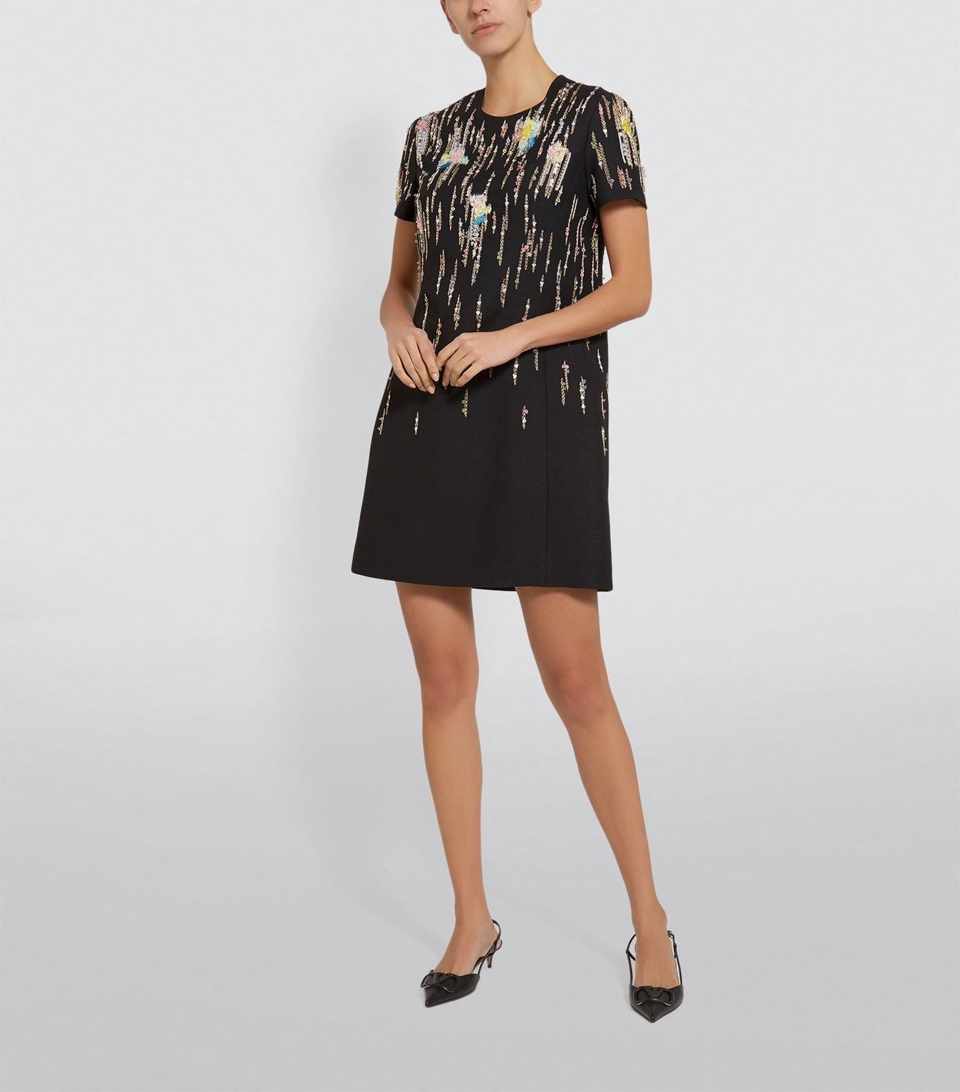 VALENTINO Embellished Short-Sleeved Mini Dress