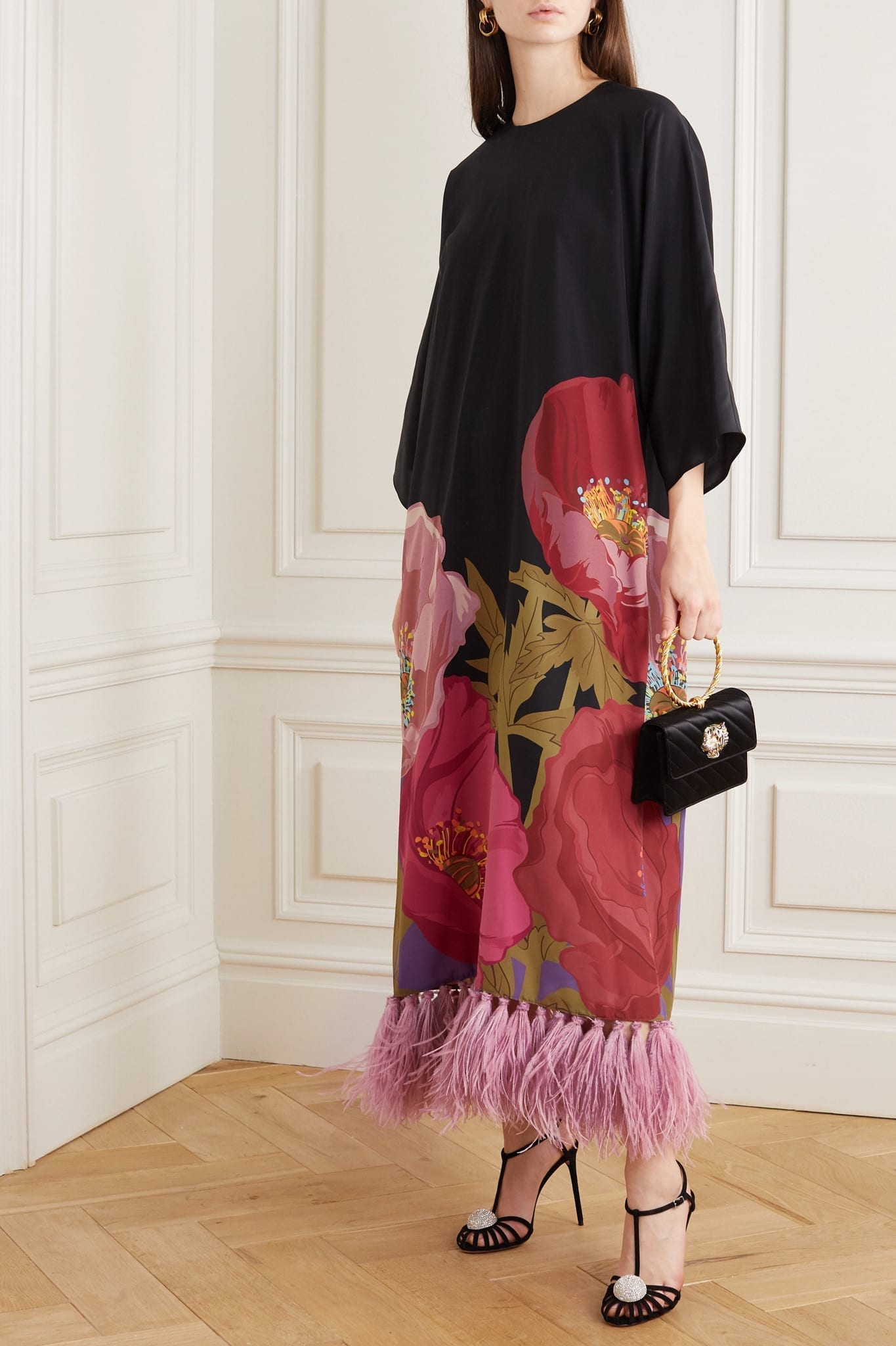 VALENTINO Feather-trimmed Floral-print Silk Crepe De Chine Maxi Dress