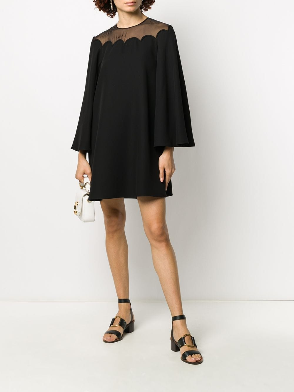 VALENTINO Sheer Panel Short Dress