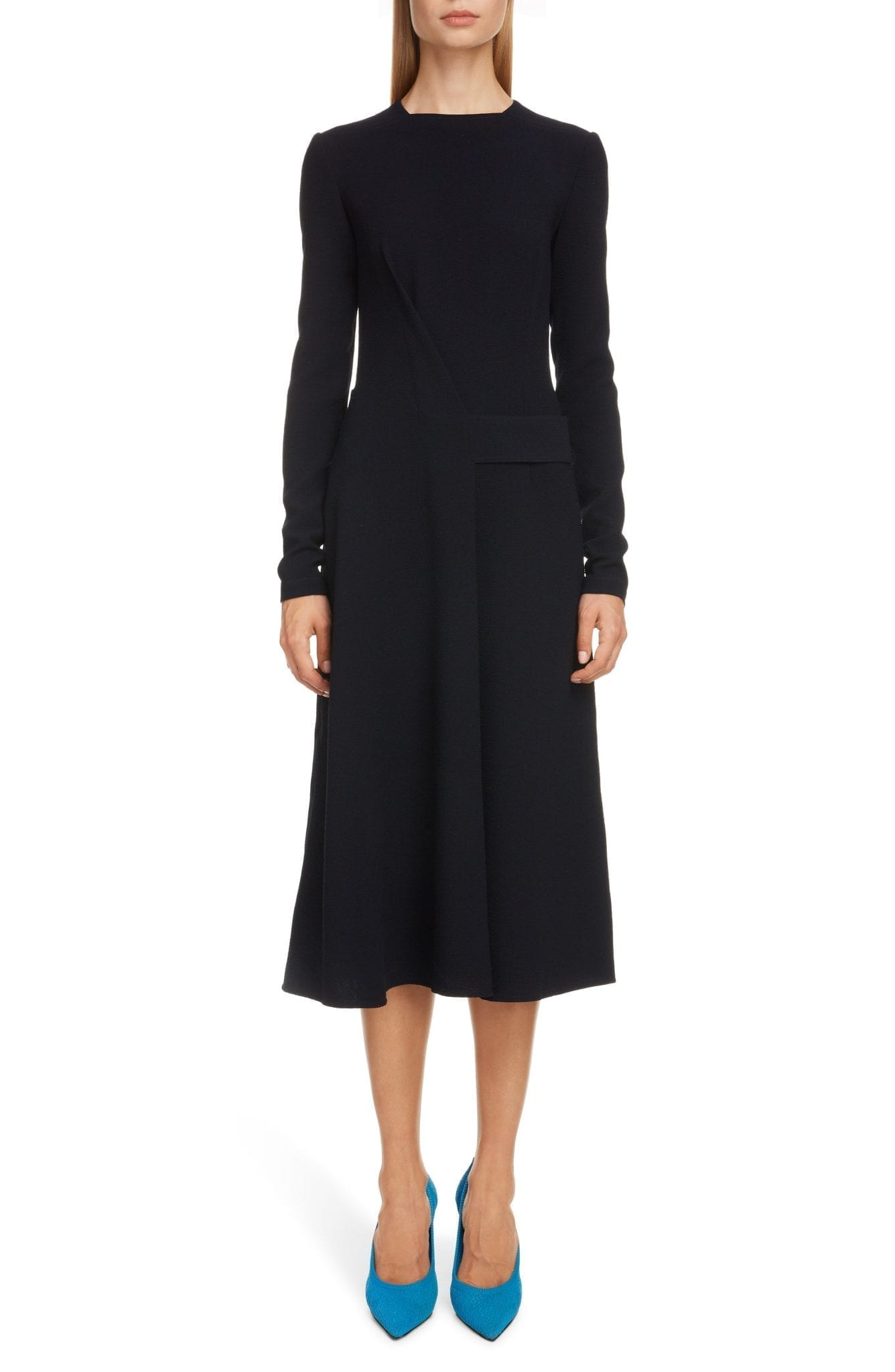 VICTORIA BECKHAM Belted Long Sleeve Midi Dress