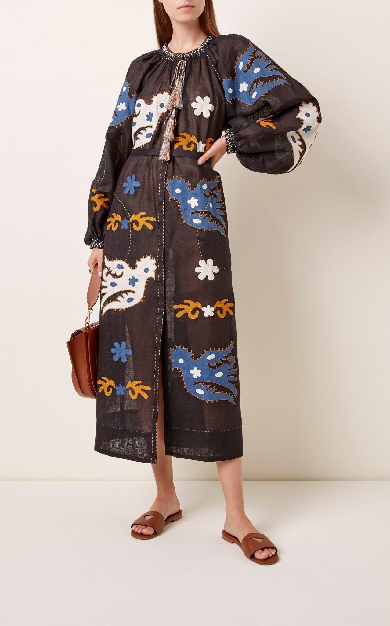 VITA KIN Parrot Appliquéd Embroidered Linen Midi Dress