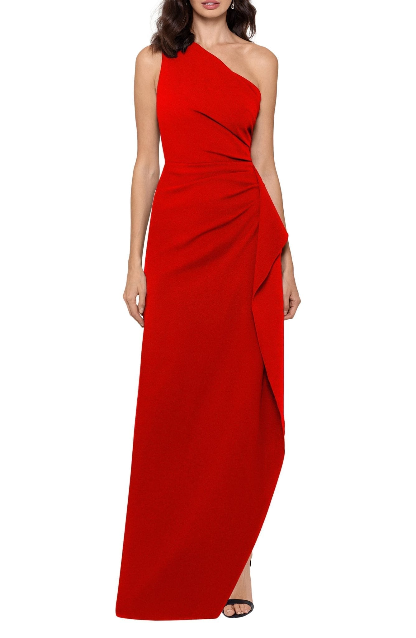 XSCAPE One-Shoulder Scuba Crepe Gown