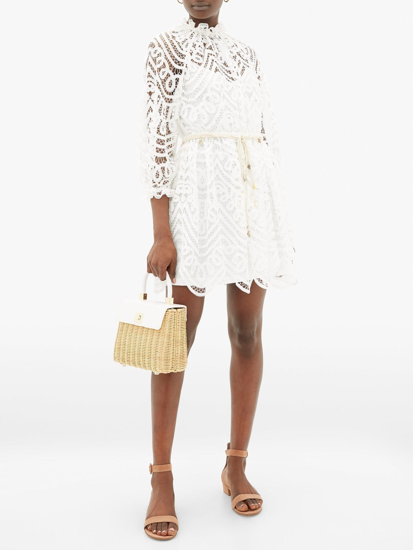 ZIMMERMANN Bonita Belted Lace Mini Dress