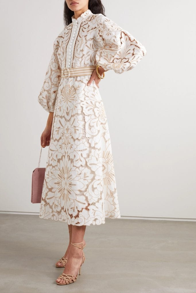 Zimmermann Edie Belted Broderie Anglaise Linen And Cotton