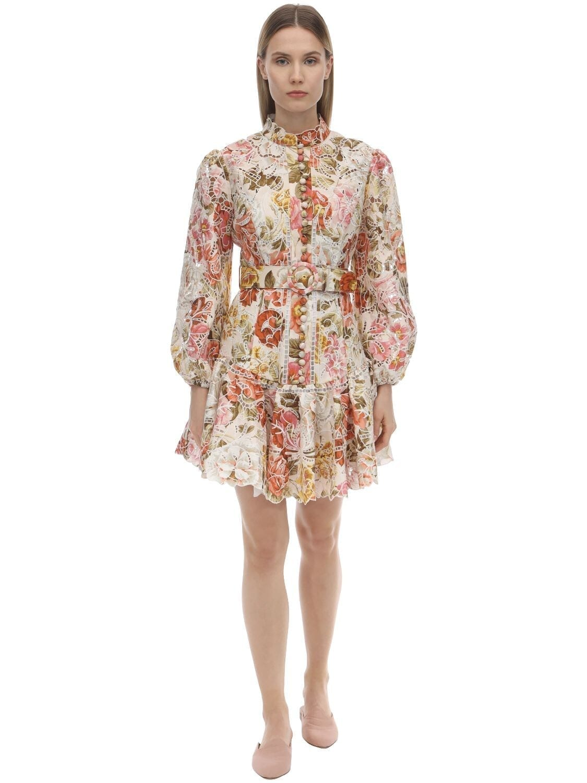 ZIMMERMANN Embroidered Linen Mini Dress