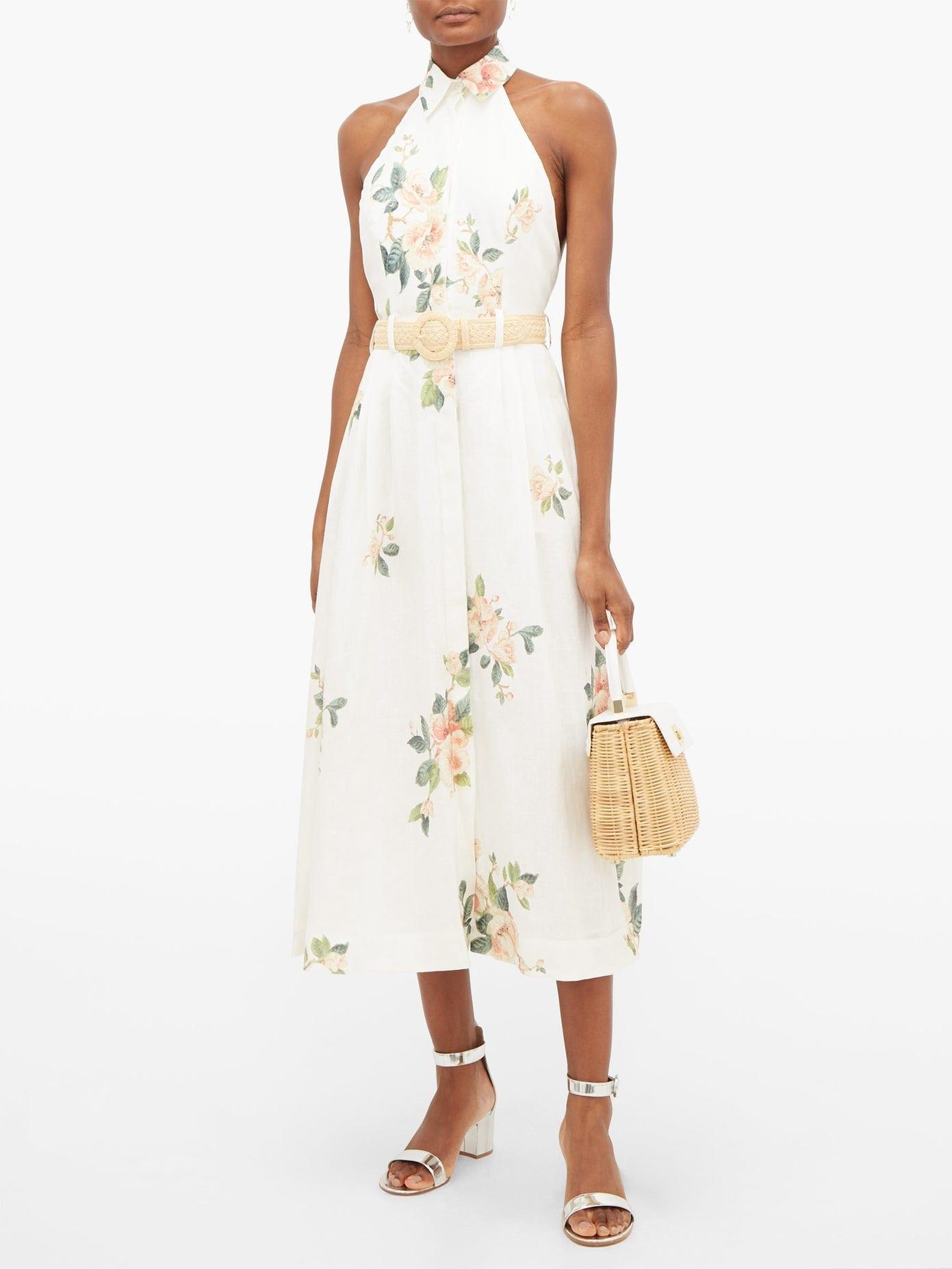 ZIMMERMANN Kirra Halterneck Floral-Print Linen Dress