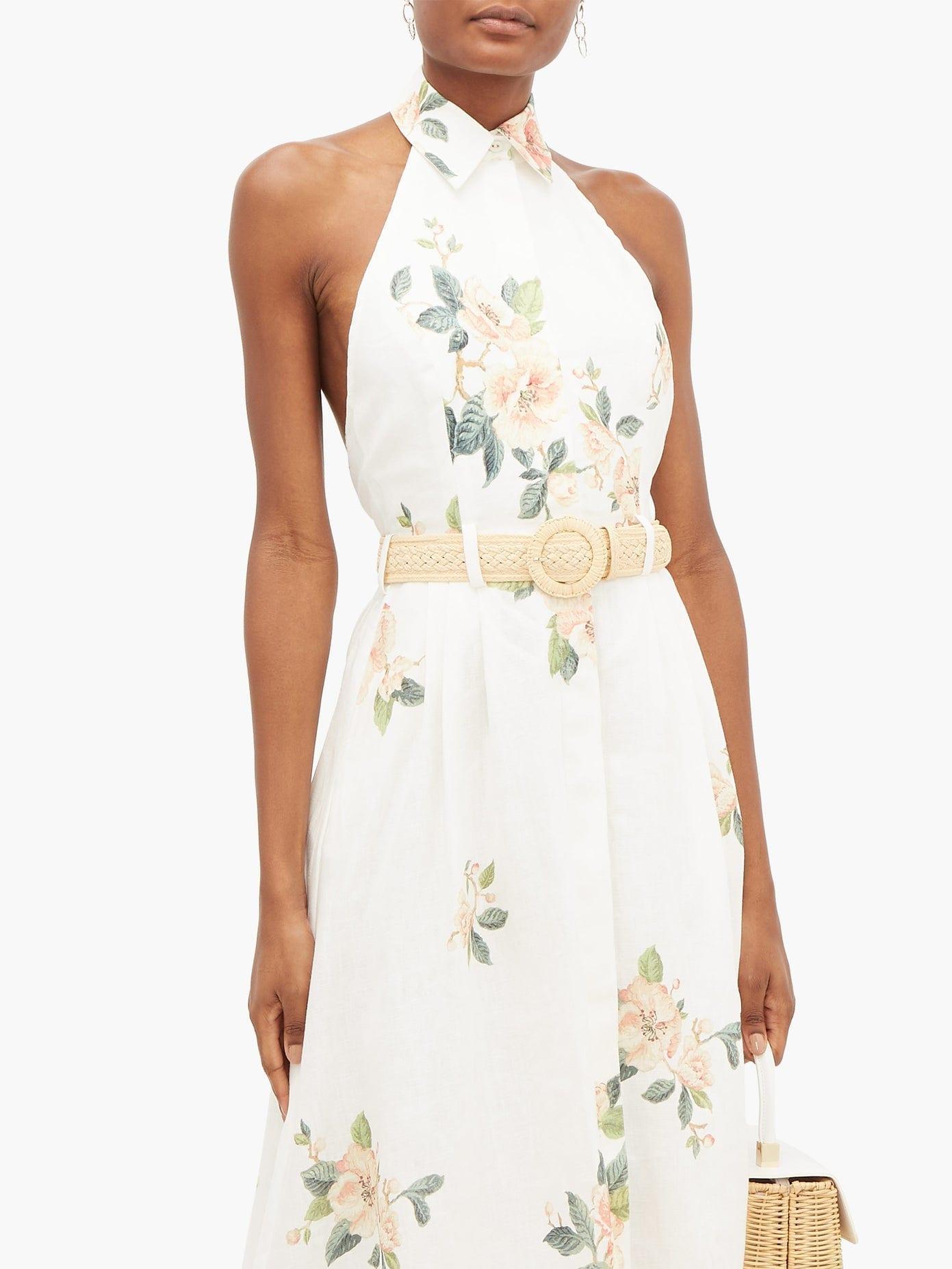Zimmermann Kirra Halterneck Floral Print Linen Dress We