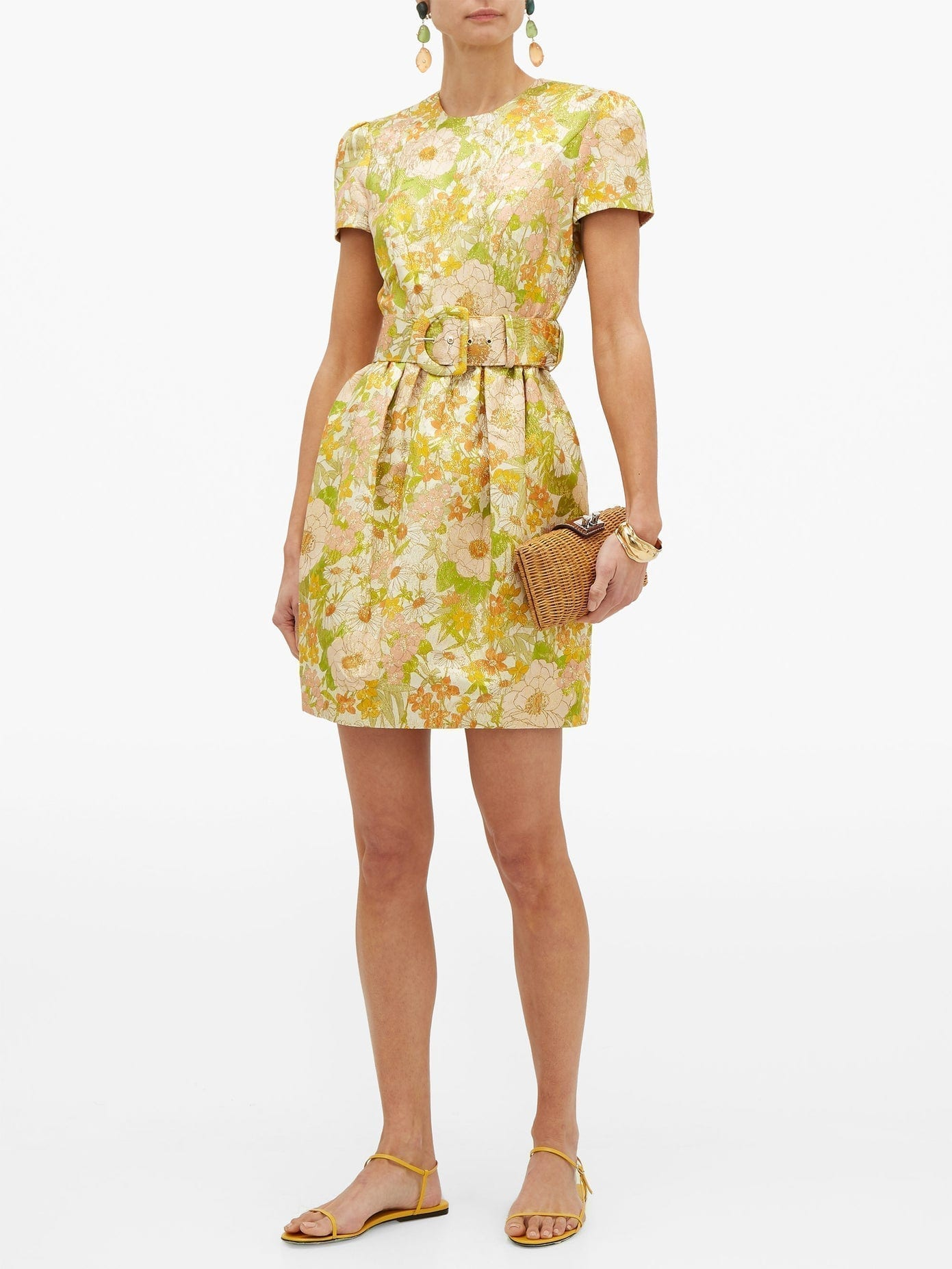 ZIMMERMANN Super Eight Belted Floral-brocade Mini Dress