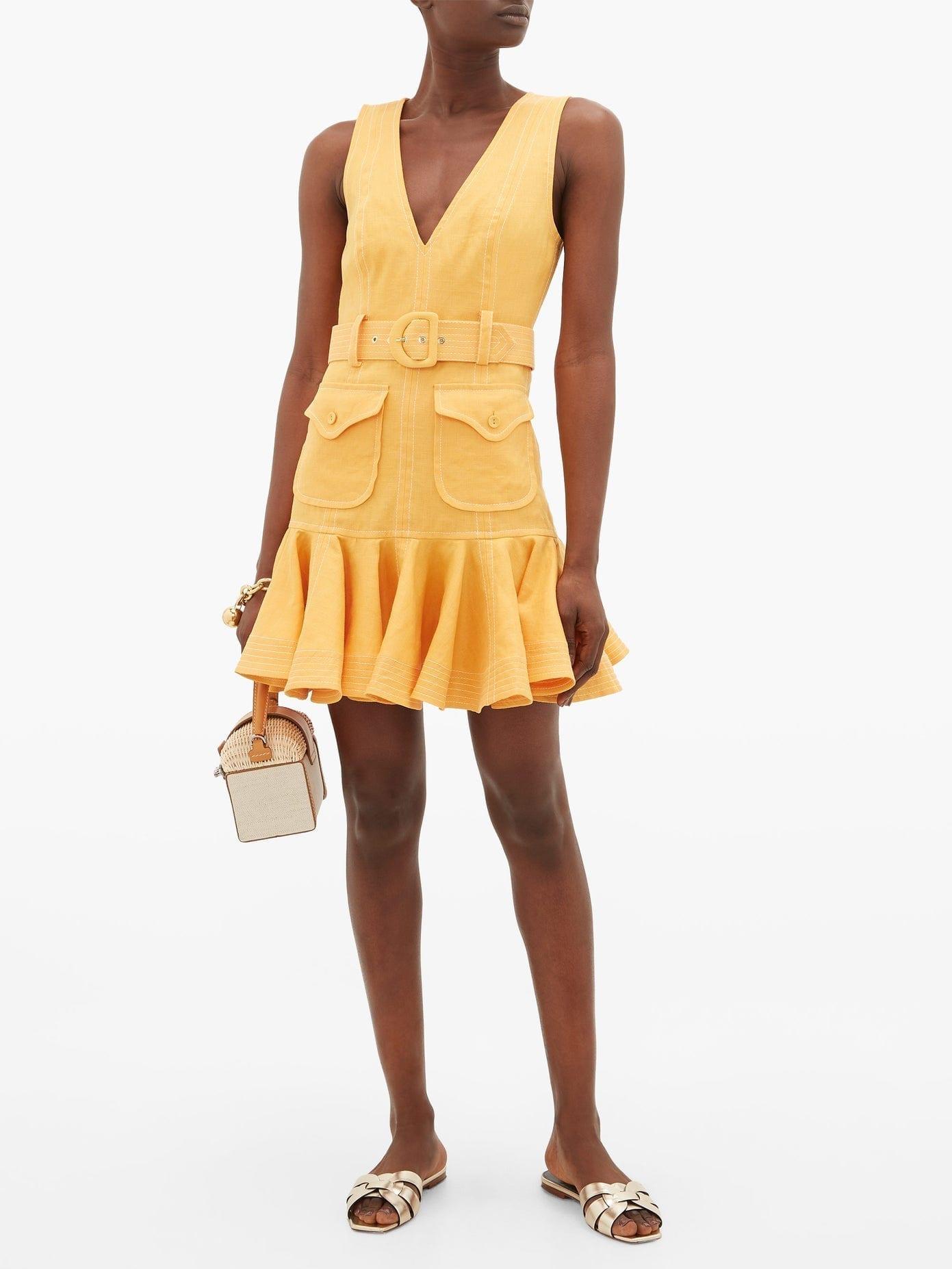 ZIMMERMANN Super Eight Safari Flounced-hem Linen-poplin Dress