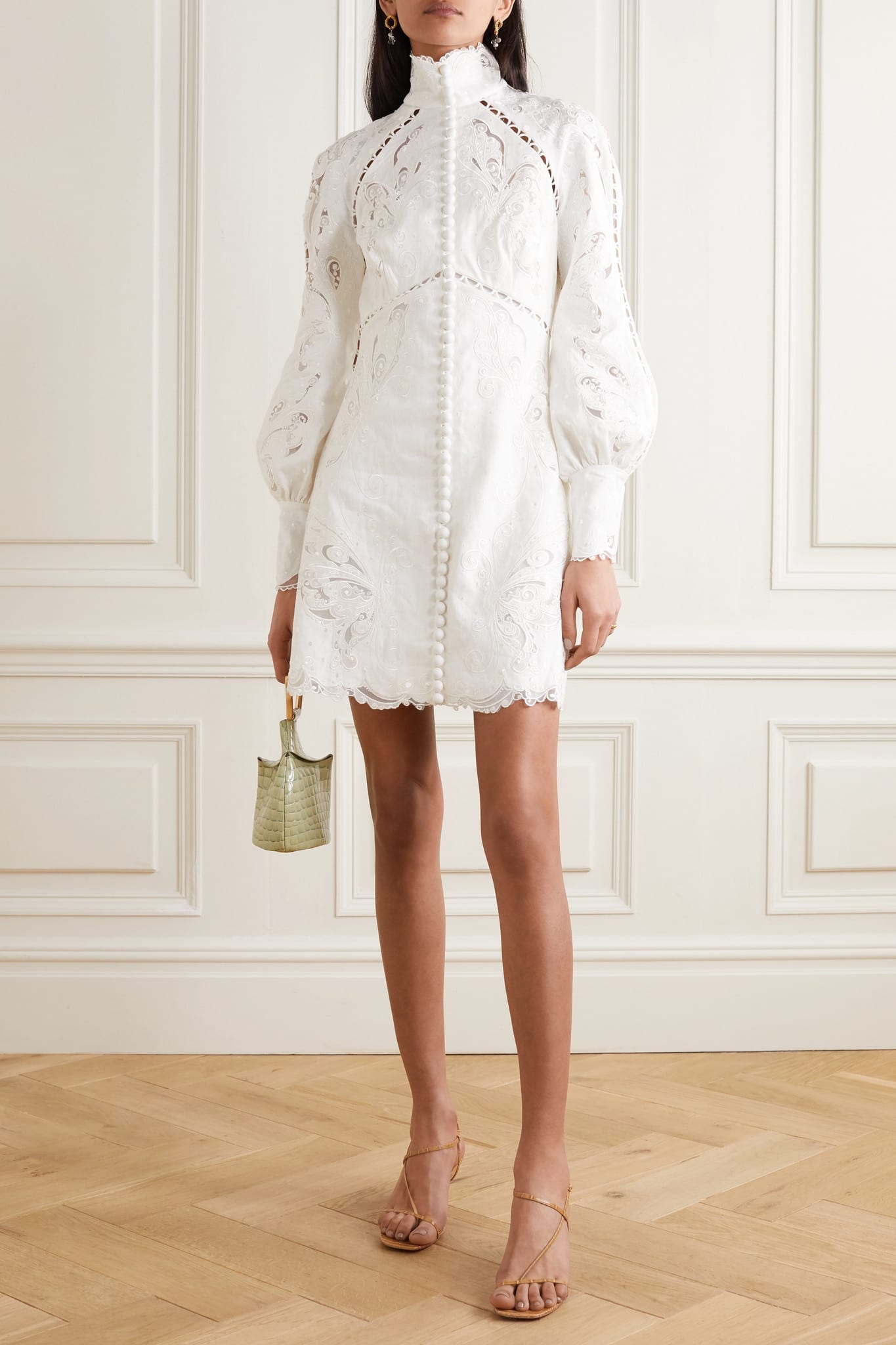 ZIMMERMANN Super Eight Tulle-trimmed Broderie Anglaise Linen Mini Dress