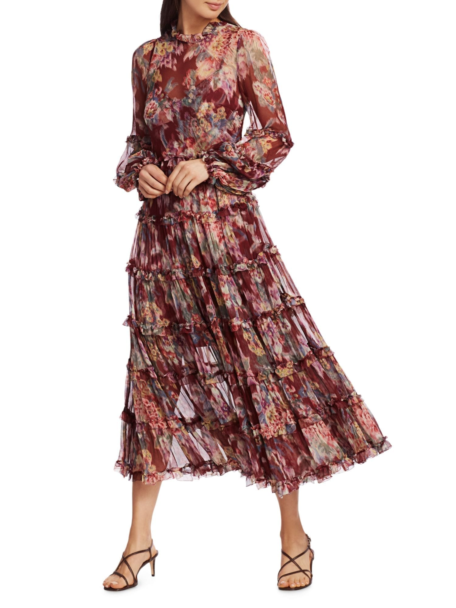 ZIMMERMANN Wavelength Floral Teired Ruffle Silk Midi Dress