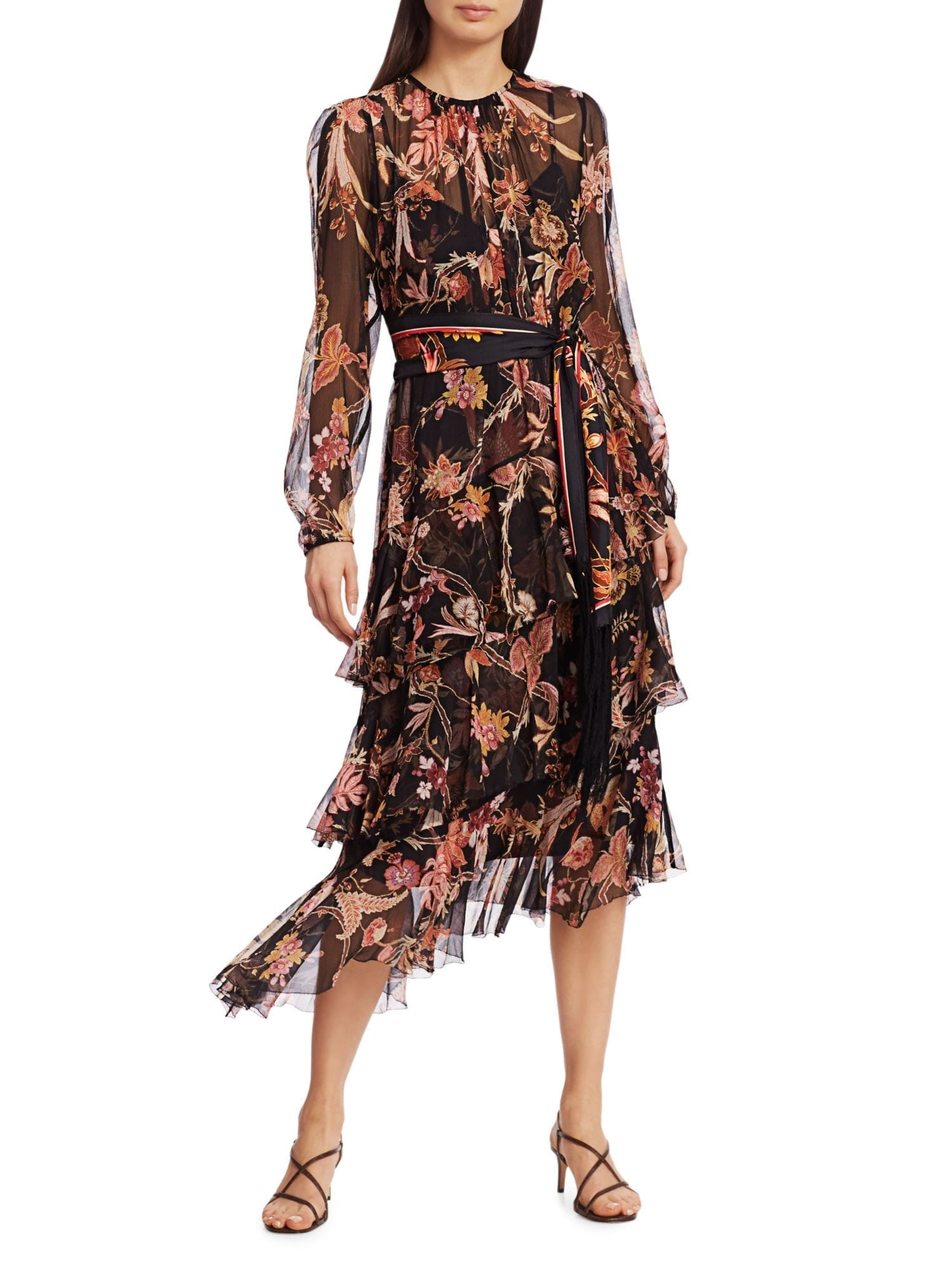 ZIMMERMANN Wavelength Floral Tiered Ruffle Tie-Waist Silk Midi Dress