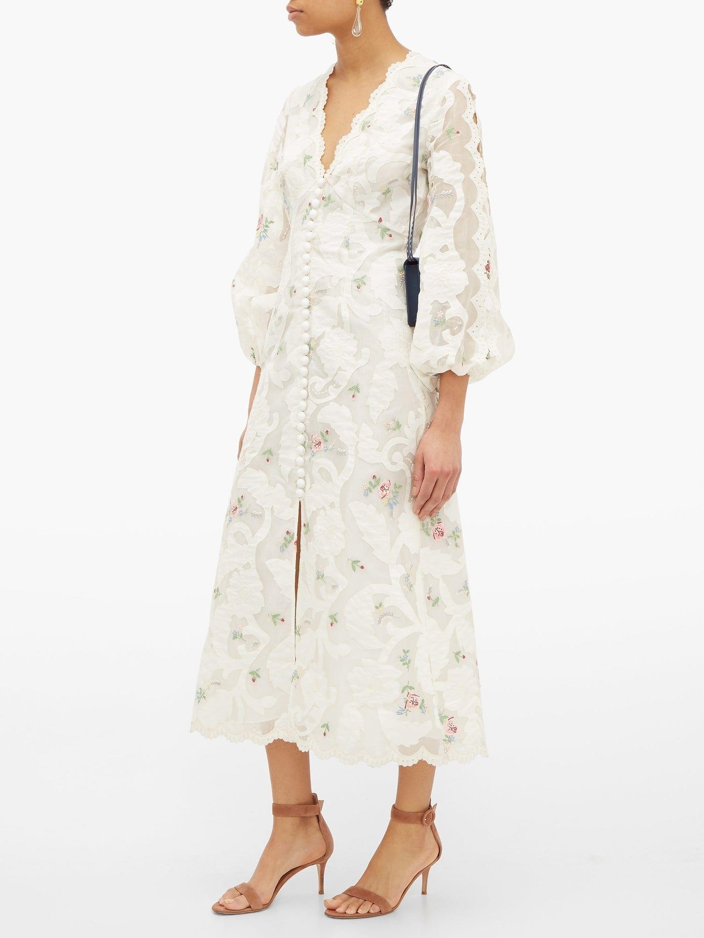 ZIMMERMANN Zinnia Floral-embroidered Ramie-blend Dress