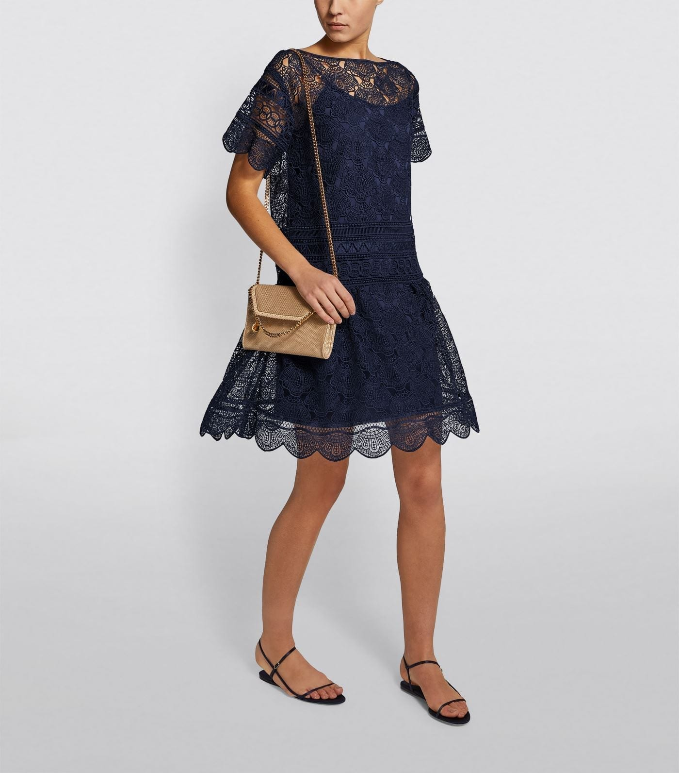 ALBERTA FERRETTI Lace Overlay Dress