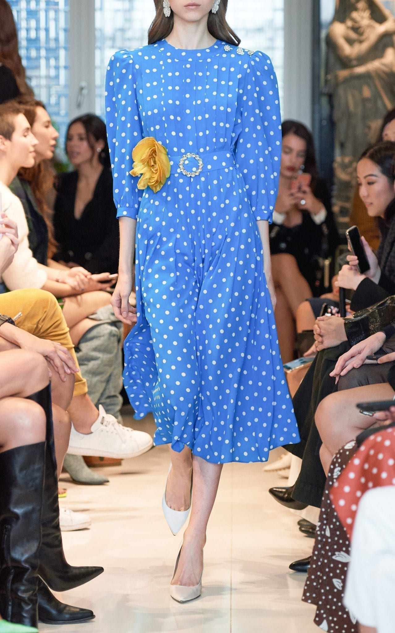 ALESSANDRA RICH Belted Embellished Polka-Dot Silk Midi Dress