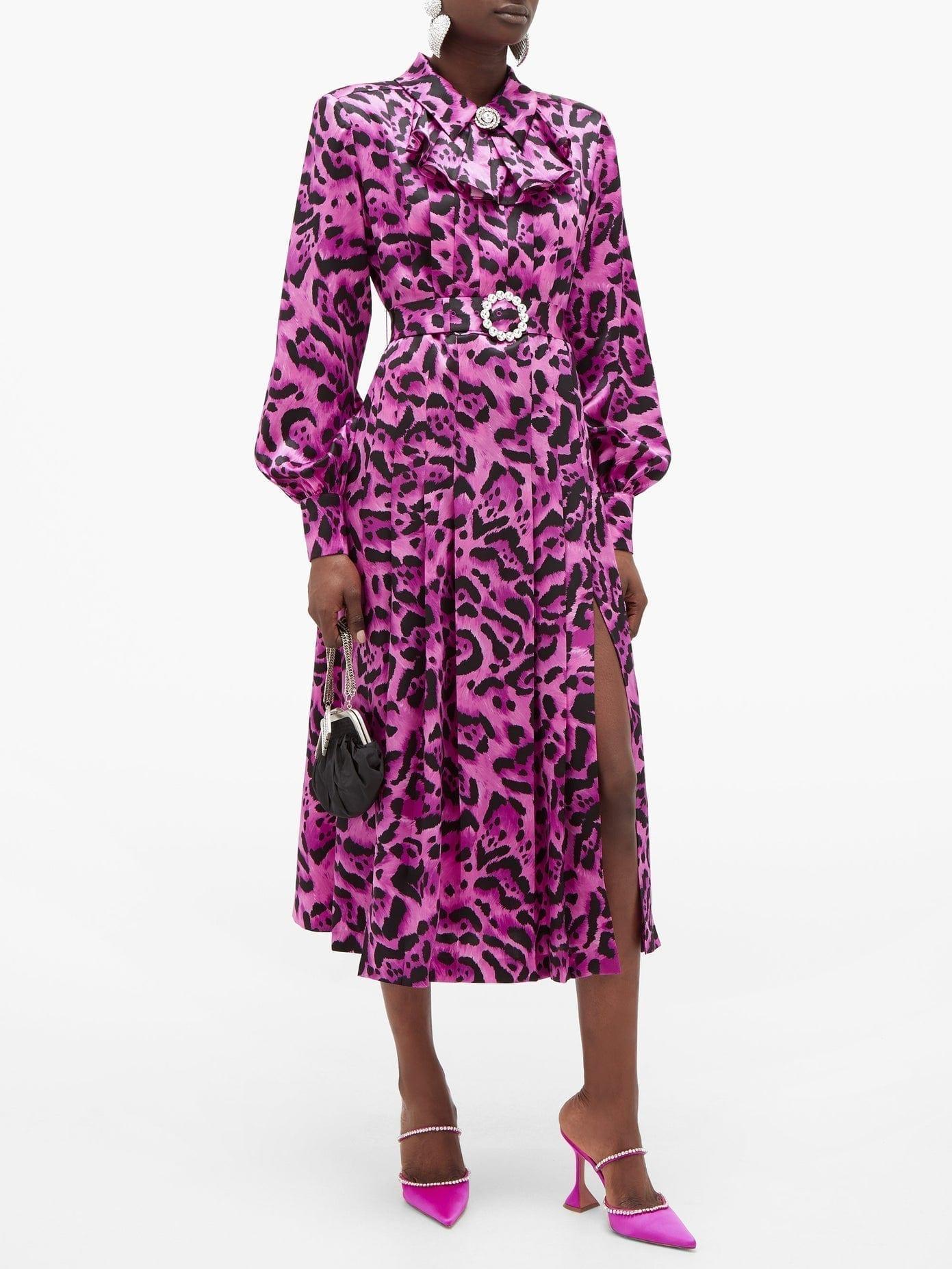 ALESSANDRA RICH Crystal-buckle Leopard-print Silk Midi Dress