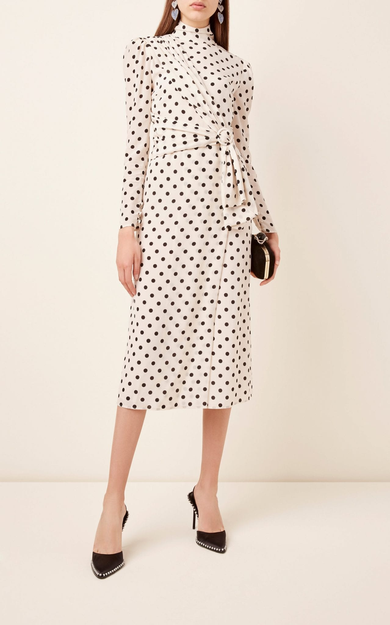 ALESSANDRA RICH Embellished Polka-Dot Silk Midi Dress