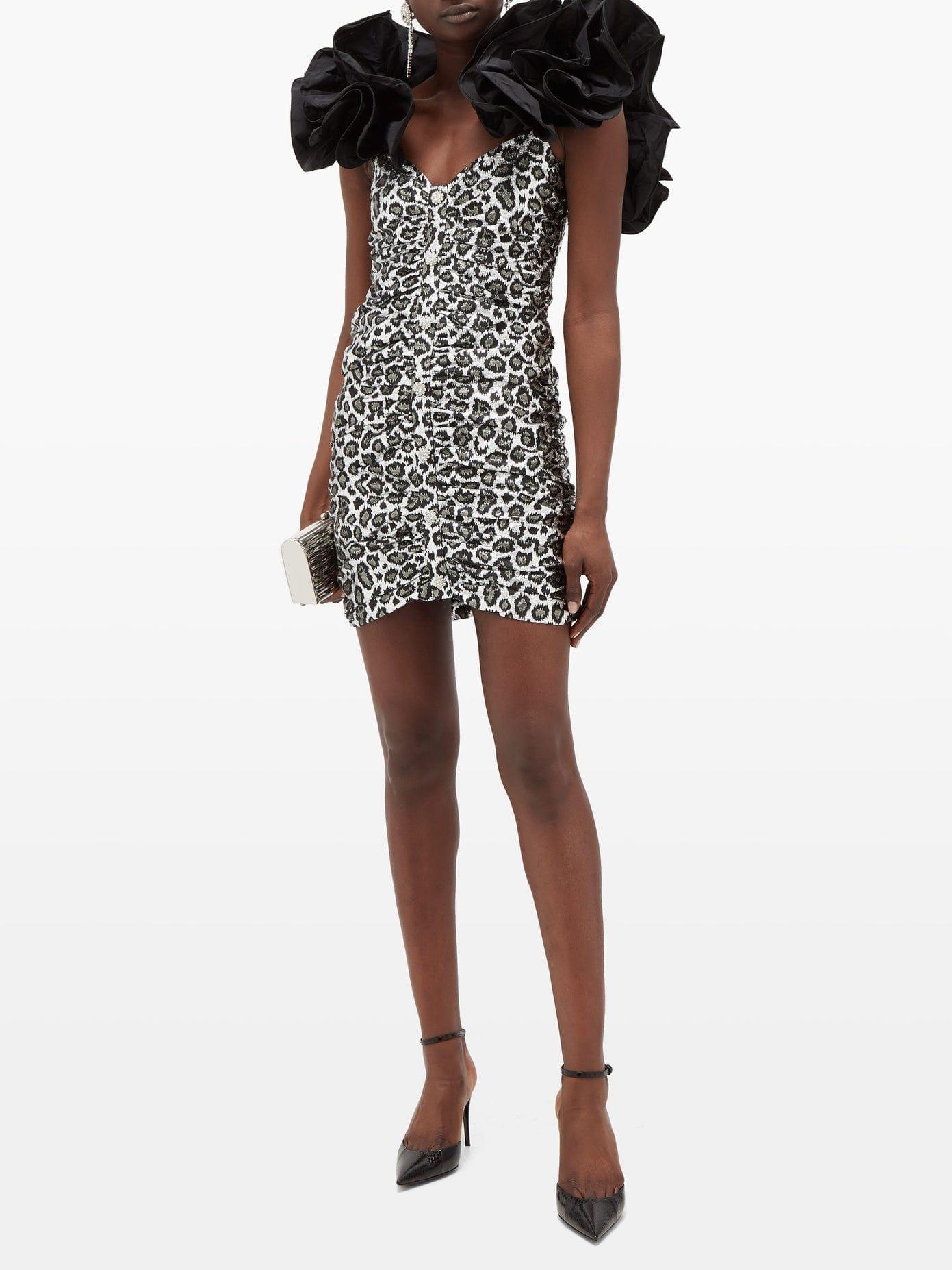 ALESSANDRA RICH Ruffled Metallic Leopard-jacquard Mini Dress