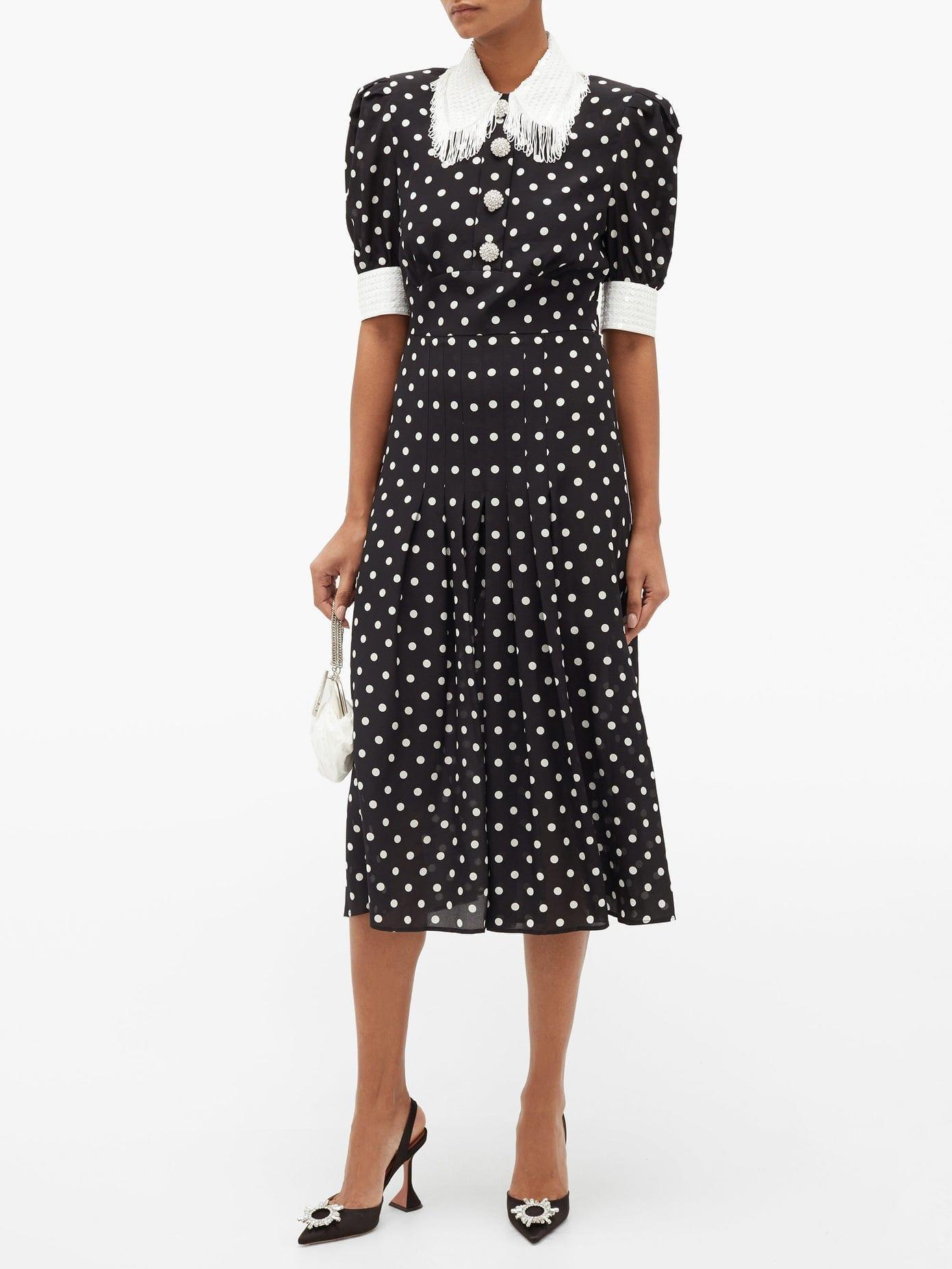 ALESSANDRA RICH Sequinned & Tasselled Polka-dot Pleated Midi Dress