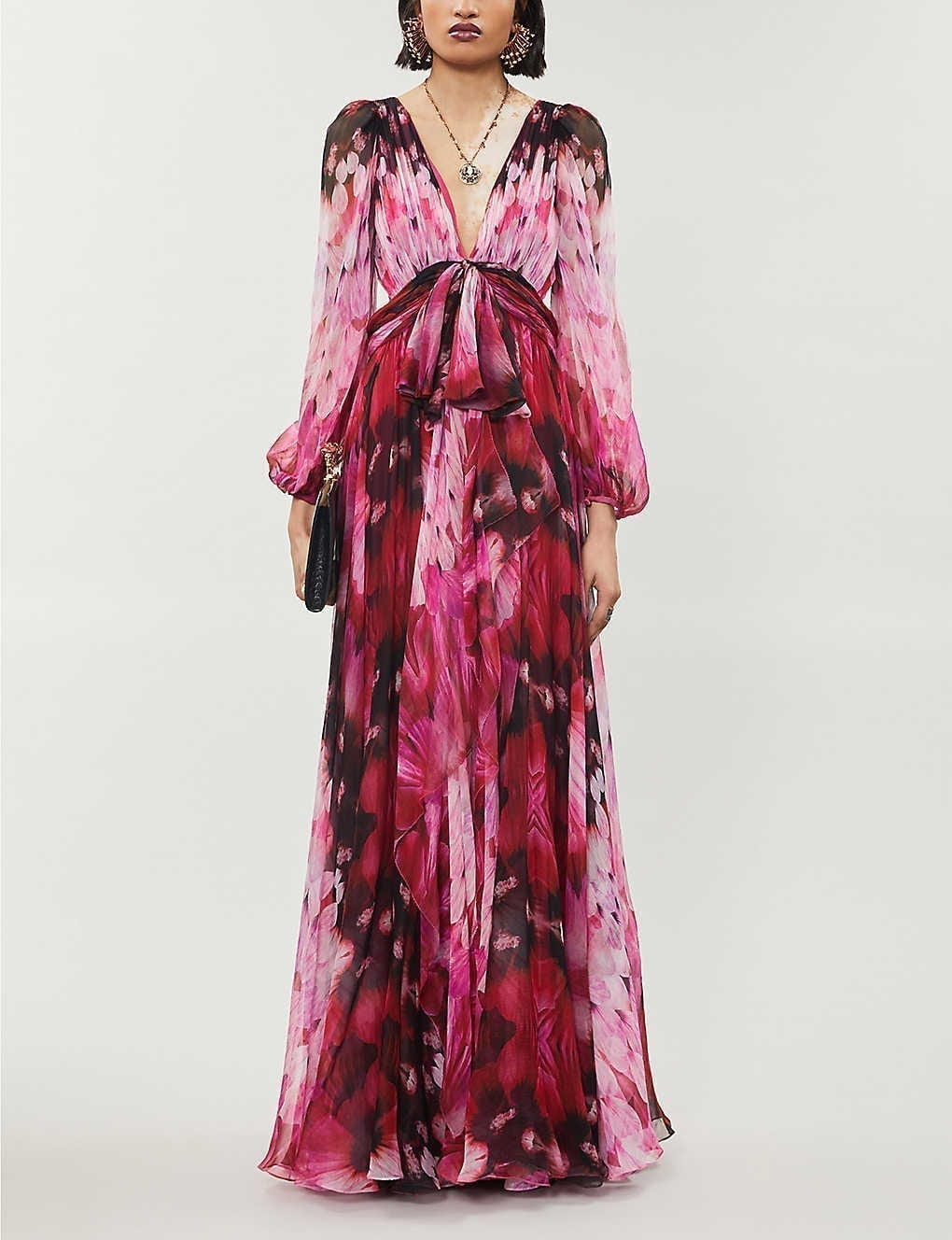 ALEXANDER MCQUEEN Floral-print Silk-crepe Gown