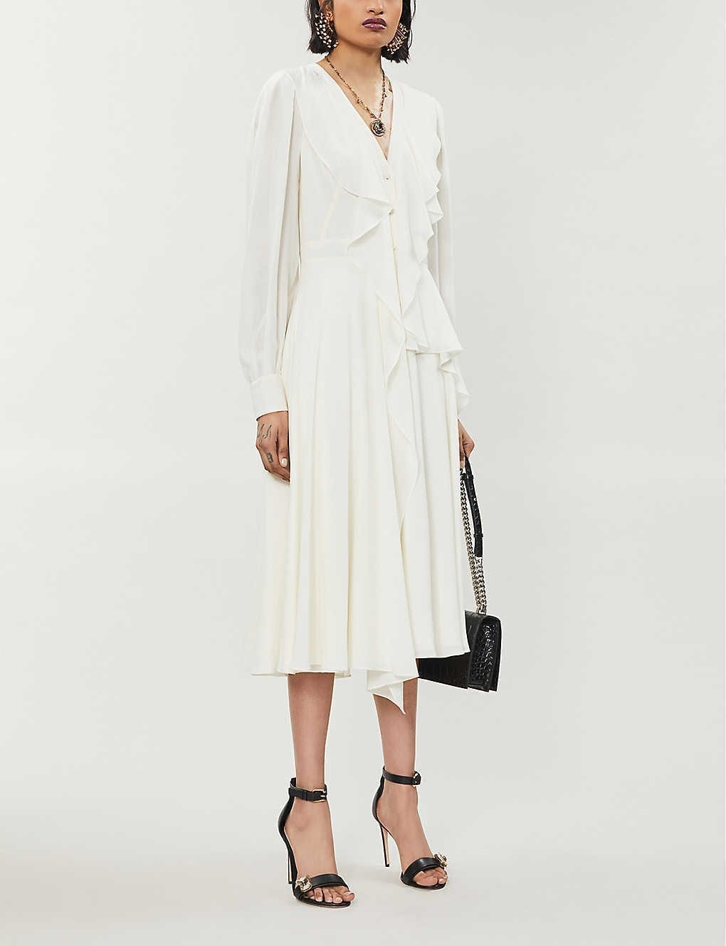 ALEXANDER MCQUEEN Ruffle-Trim Silk-Crepe Midi Dress