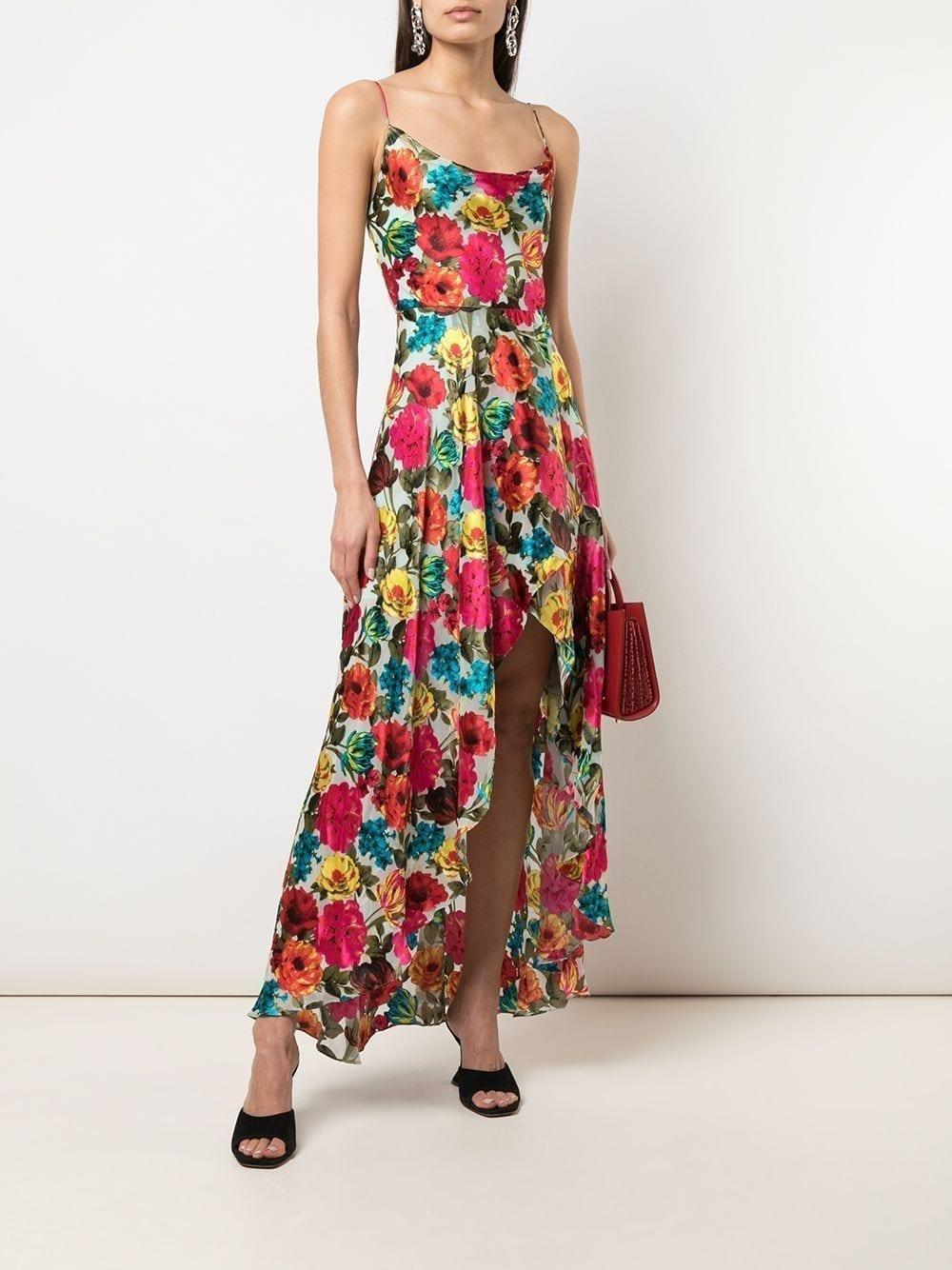 ALICE+OLIVIA Christina Floral Asymmetric Dress