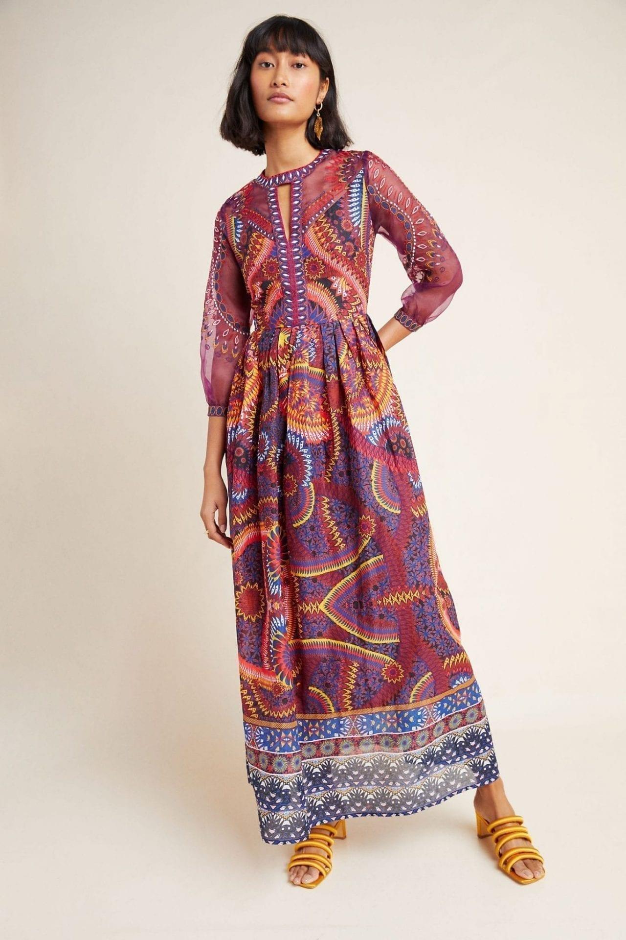 ANTHROPOLOGIE Maren Embroidered Maxi Dress