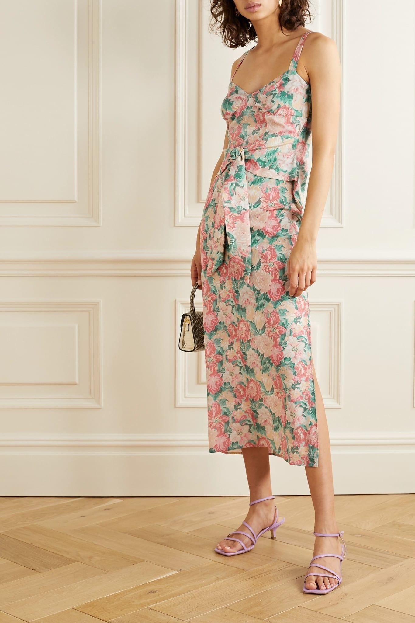 ART DEALER Belted Floral-print Silk-blend Georgette Midi Dress