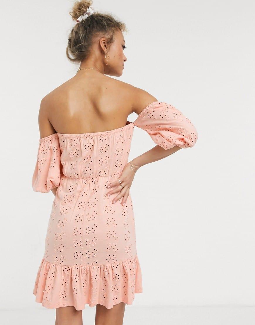 ASOS DESIGN Broderie Off The Shoulder Cupped Pep Hem Mini Dress