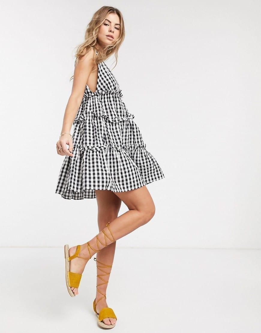 ASOS DESIGN Button Front Tiered Mini Sun Dress
