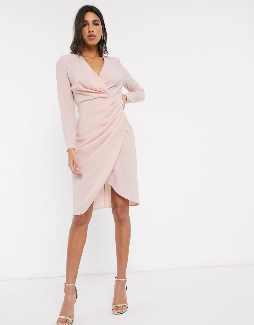 ASOS DESIGN Long Sleeve Pleat Front Wrap Midi Dress