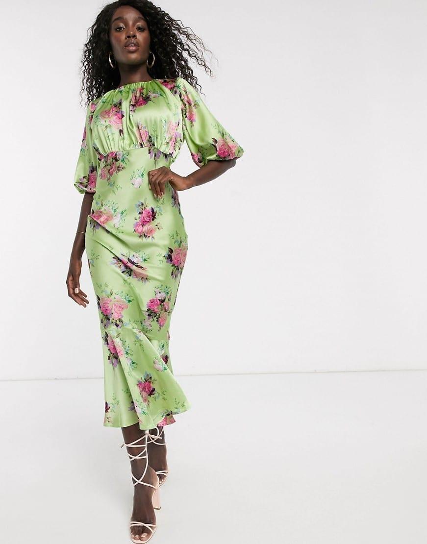 ASOS DESIGN Puff Sleeves Satin Bias Midi Dress