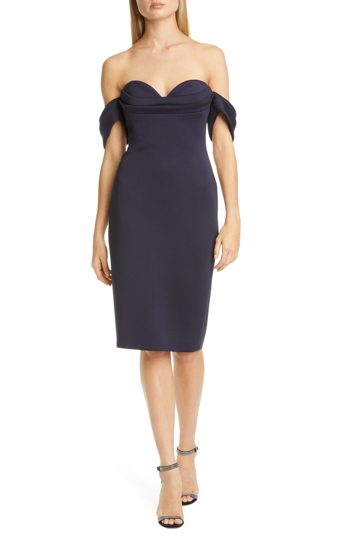 BADGLEY MISCHKA COLLECTION Badgley Mischka Off the Shoulder Cocktail Dress