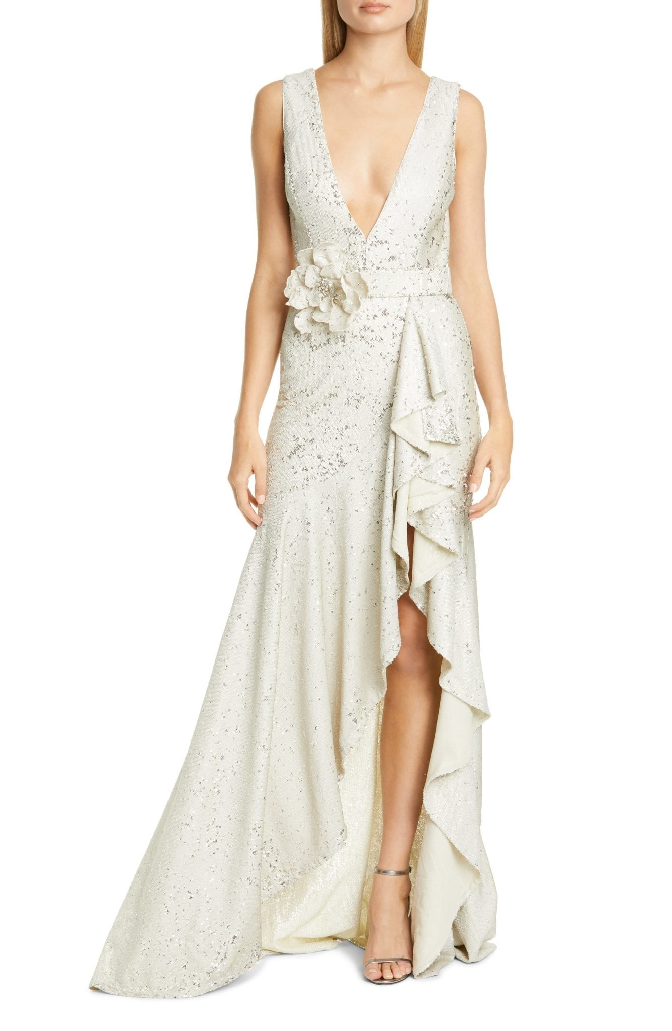 BADGLEY MISCHKA COLLECTION Badgley Mischka Sequin Ruffle Gown