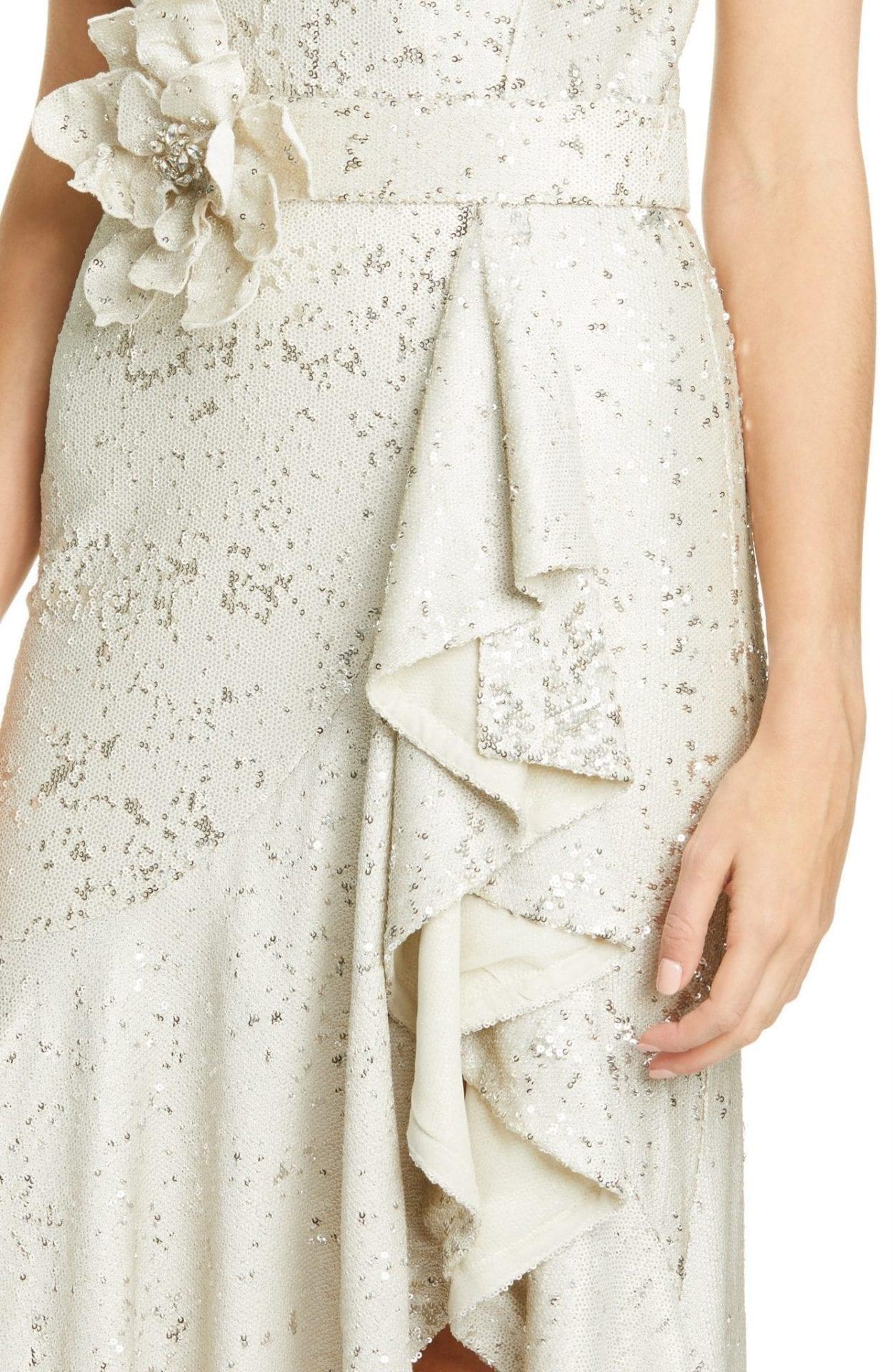 BADGLEY MISCHKA COLLECTION Badgley Mischka Sequin Ruffle Gown