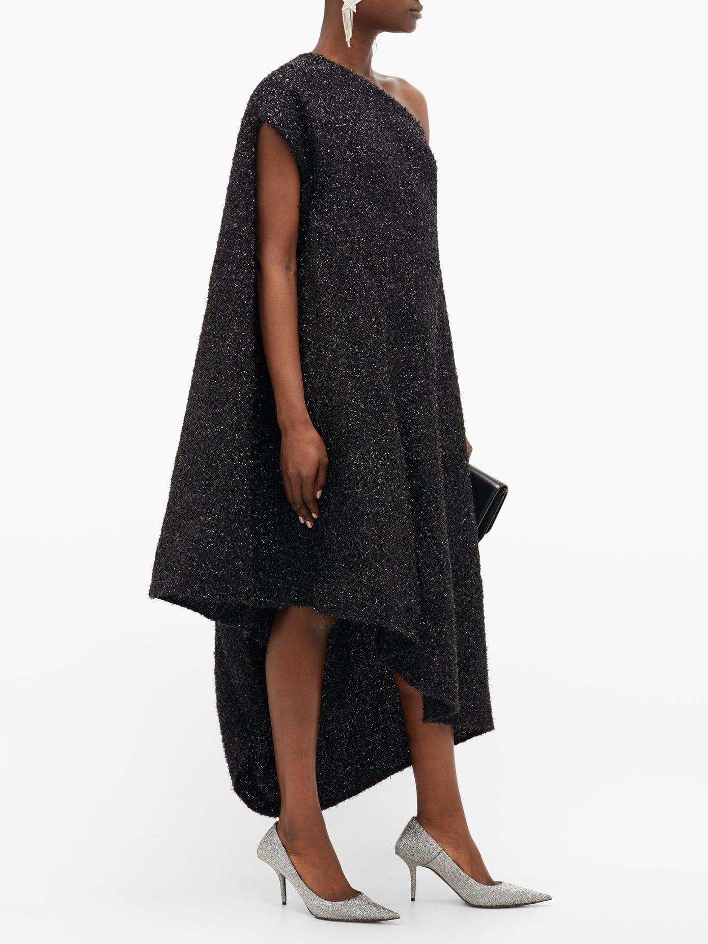 BALENCIAGA Asymmetric Lurex-tweed Midi Dress