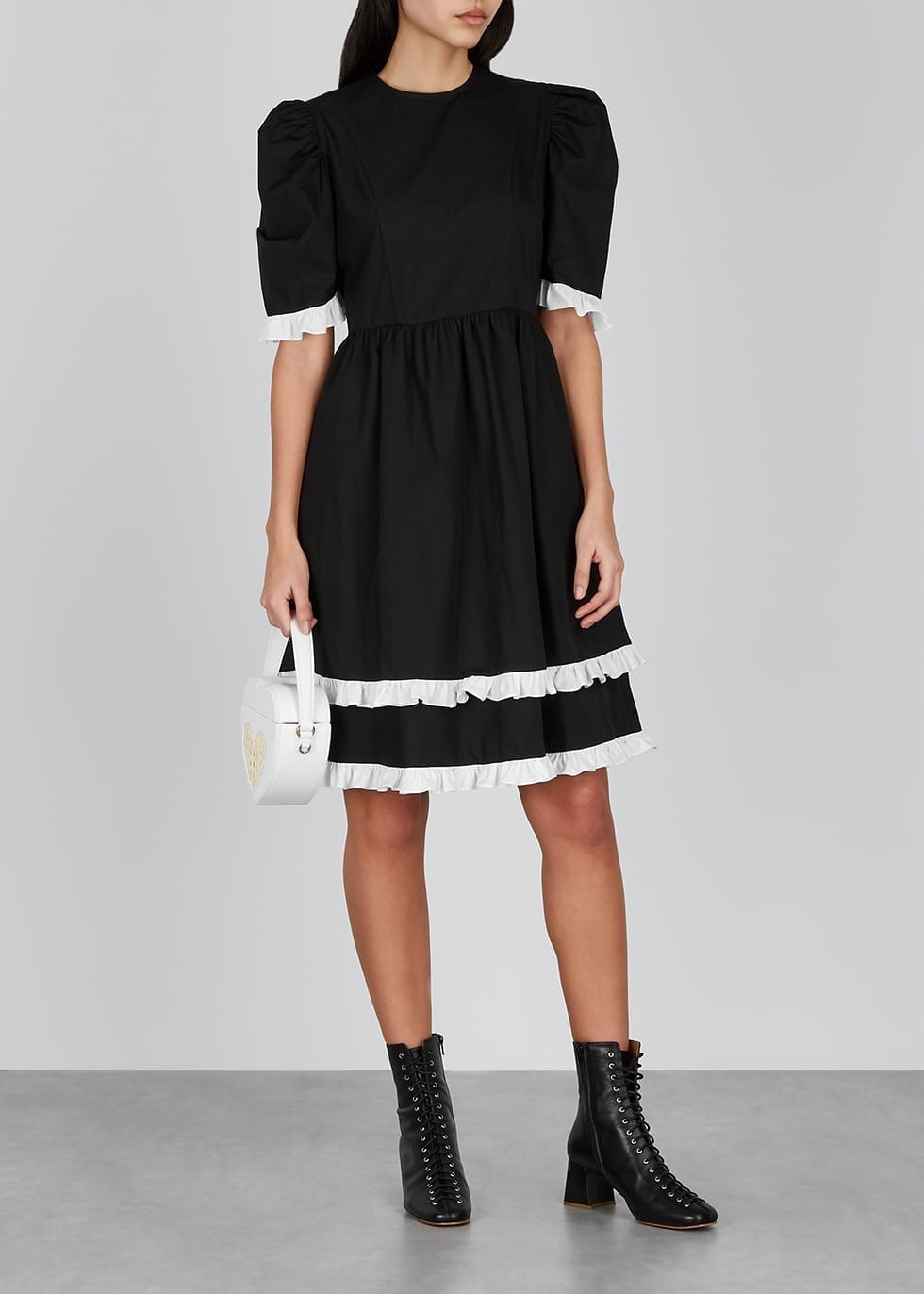 BATSHEVA Monochrome Ruffle-trimmed Cotton Dress