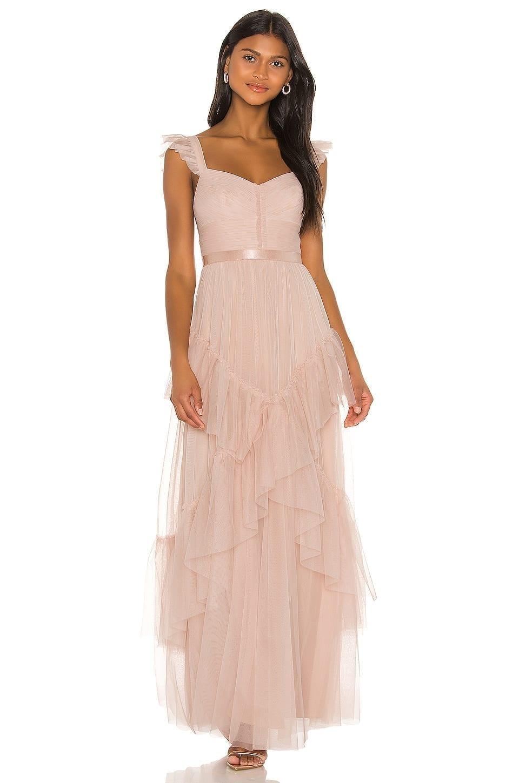 BCBGMAXAZRIA Tiered Ruffle Gown