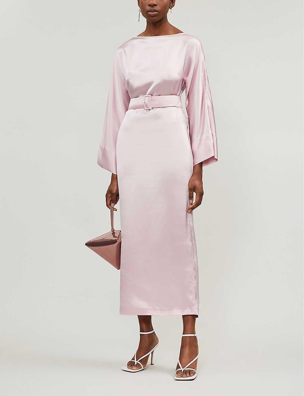 BERNADETTE Jackie Belted Silk-satin Midi Dress