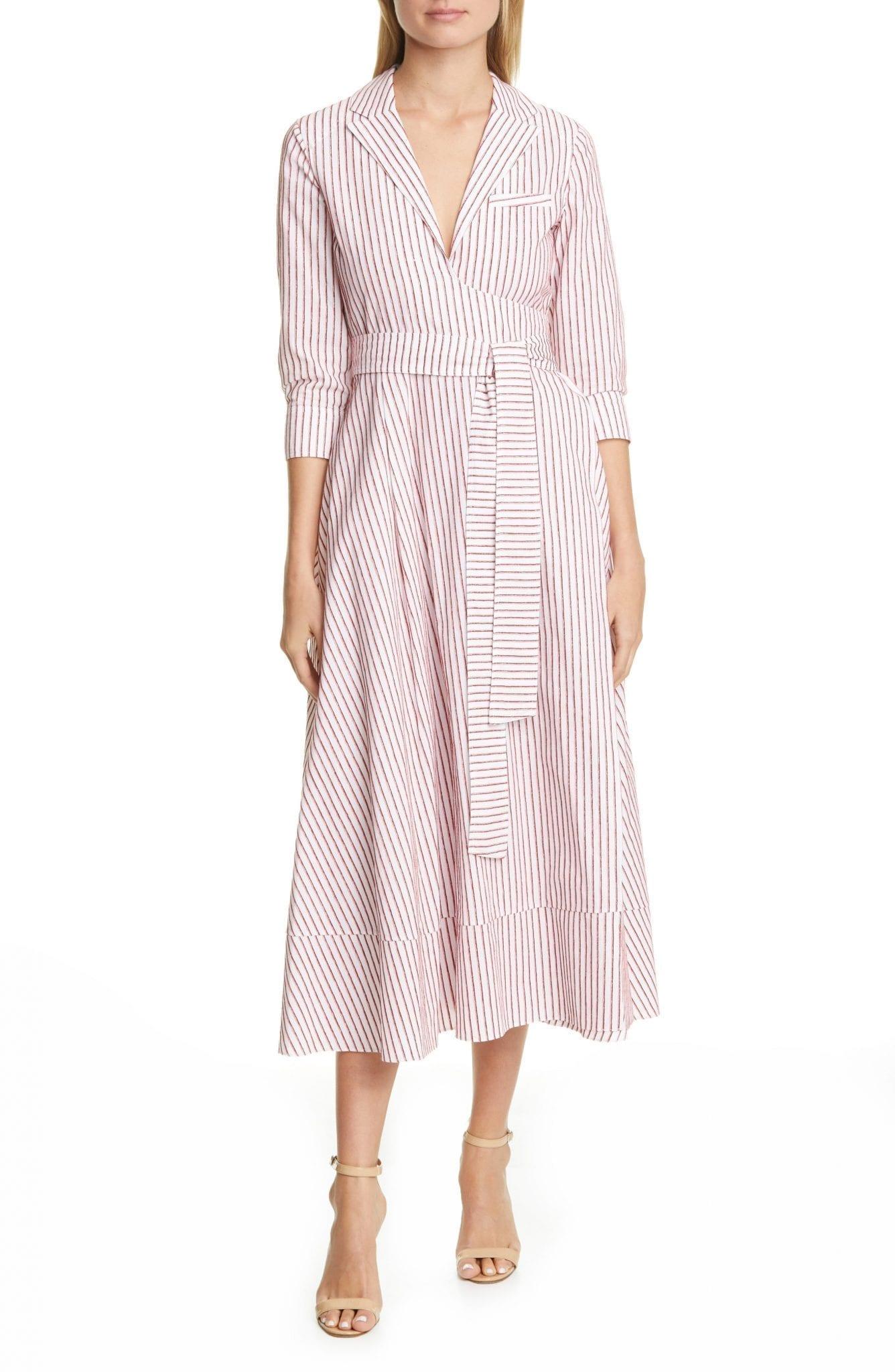 BY ANY OTHER NAME Velvet Stripe Cotton Midi Wrap Dress