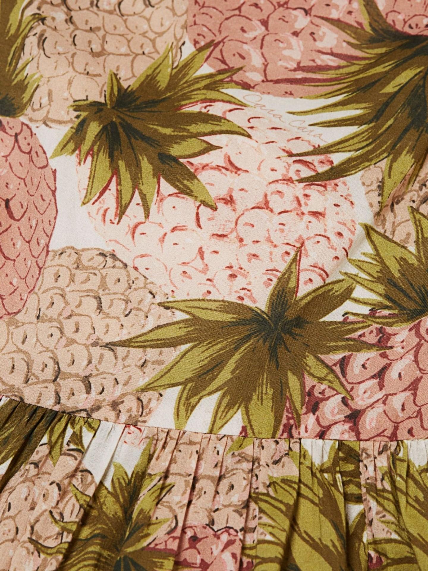 CARA CARA Harbour Island Pineapple Print Midi Flare Dress