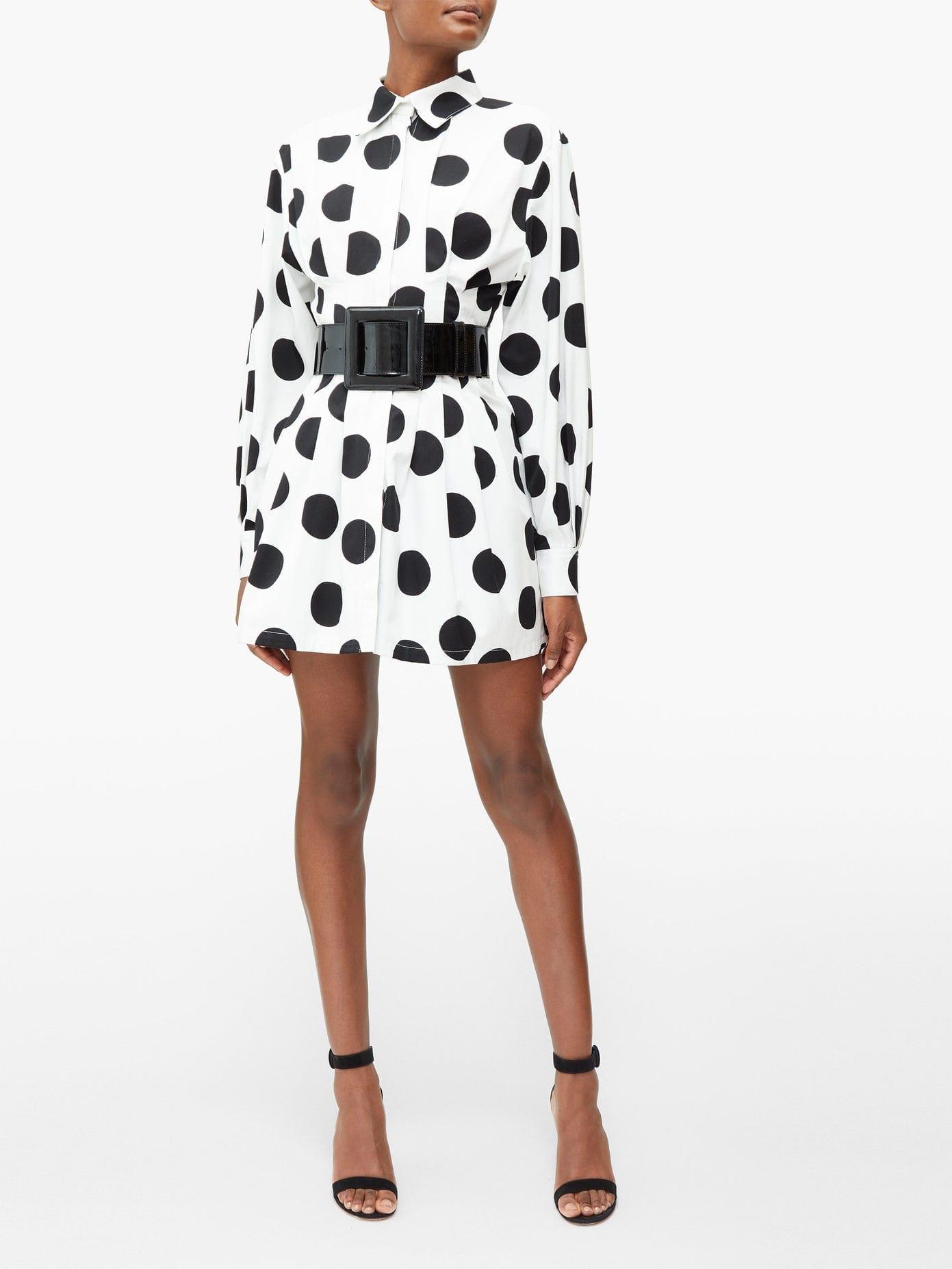 CAROLINA HERRERA Pleated Polka-dot Twill Mini Dress